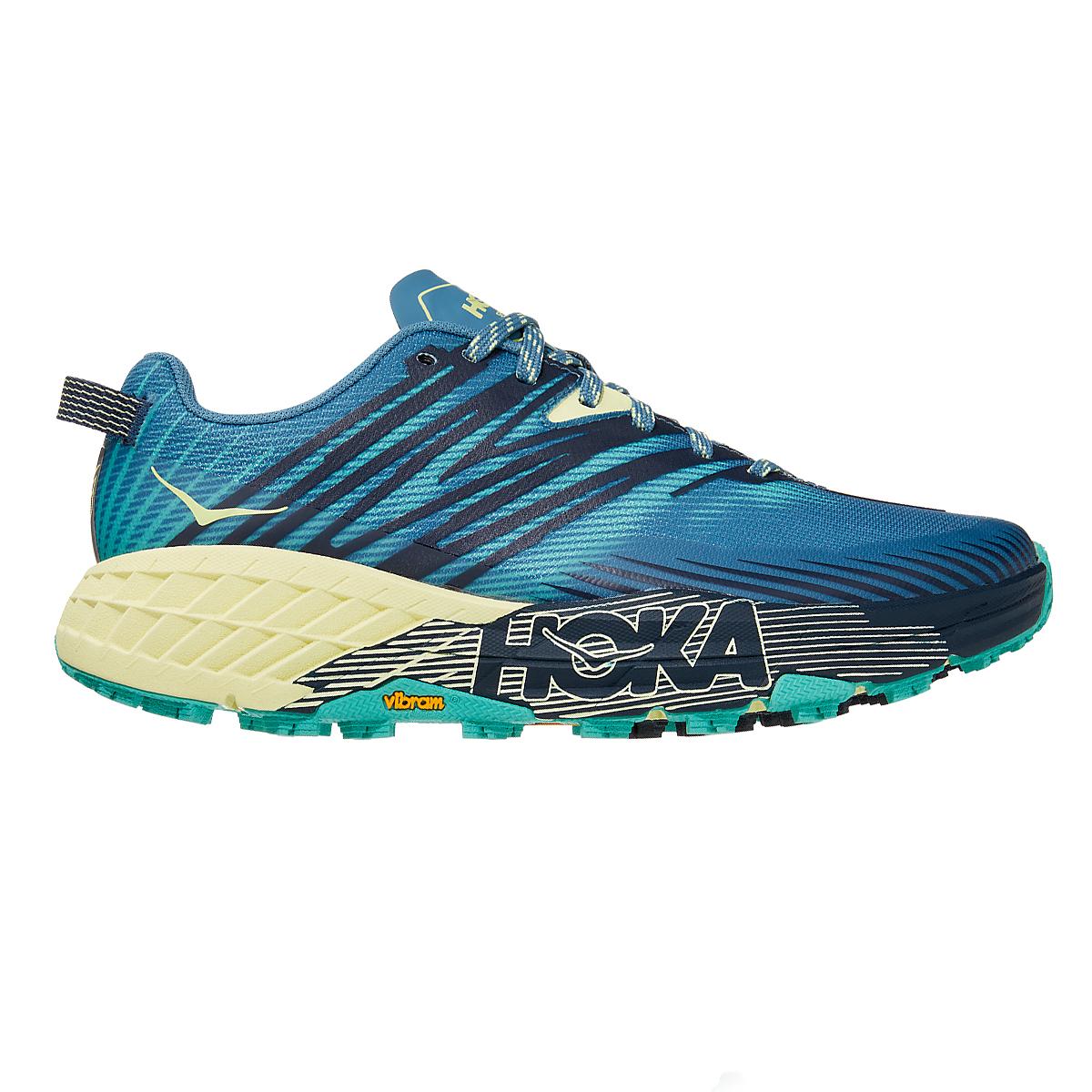 Women's Hoka One One Speedgoat 4 Running Shoe - Color: Provincial Blue/Luminary Green - Size: 5 - Width: Regular, Provincial Blue/Luminary Green, large, image 1