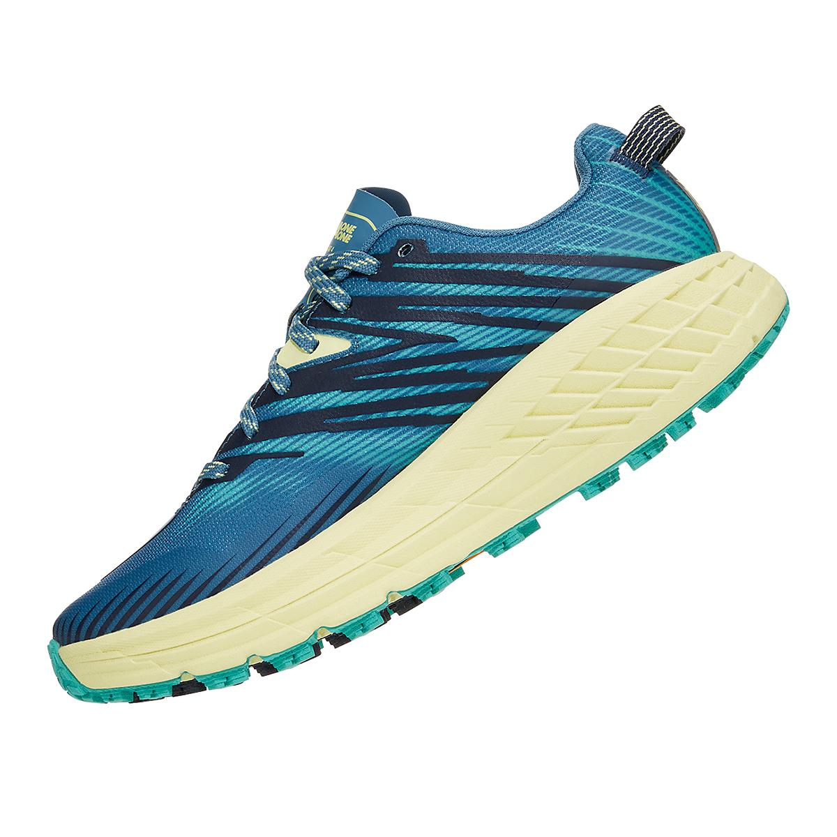 Women's Hoka One One Speedgoat 4 Running Shoe - Color: Provincial Blue/Luminary Green - Size: 5 - Width: Regular, Provincial Blue/Luminary Green, large, image 2