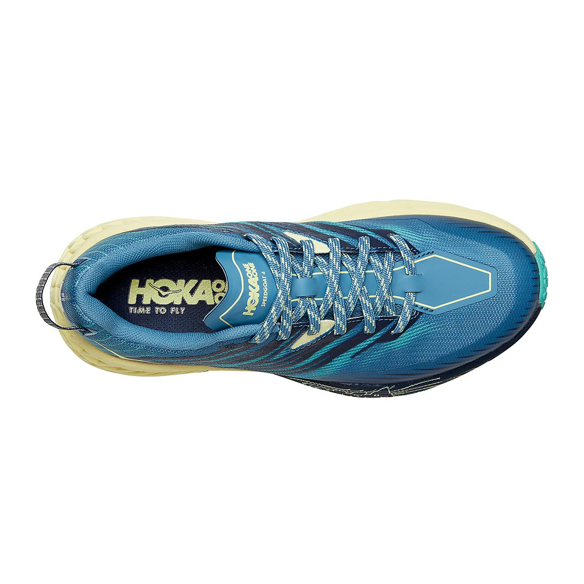 Women's Hoka One One Speedgoat 4 Running Shoe - Color: Provincial Blue/Luminary Green - Size: 5 - Width: Regular, Provincial Blue/Luminary Green, large, image 3