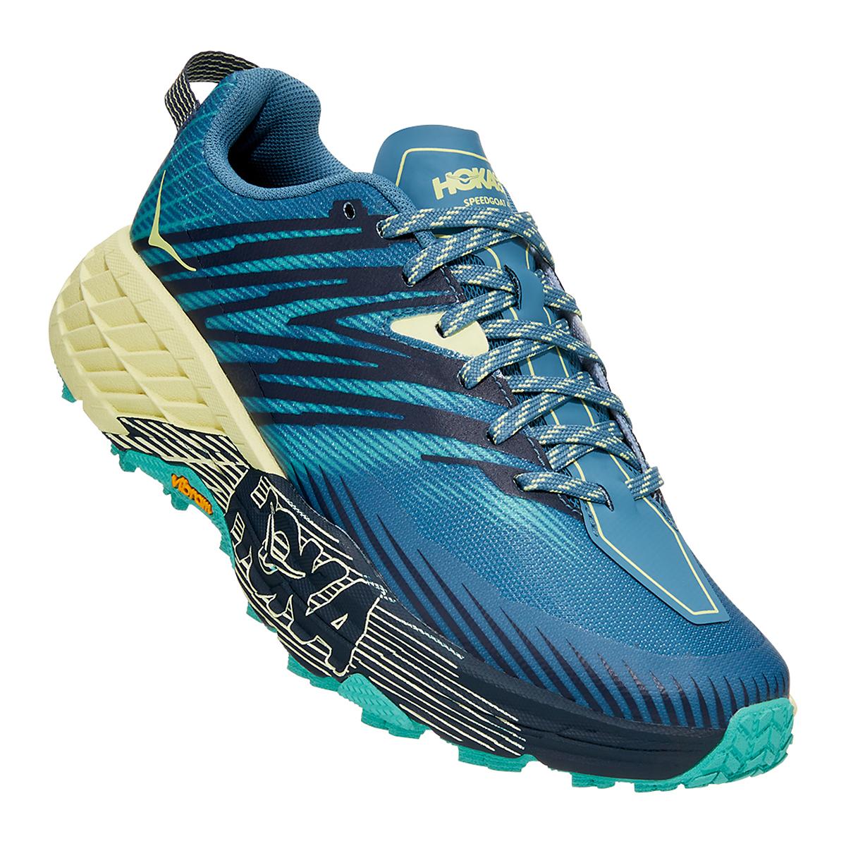 Women's Hoka One One Speedgoat 4 Running Shoe - Color: Provincial Blue/Luminary Green - Size: 5 - Width: Regular, Provincial Blue/Luminary Green, large, image 5