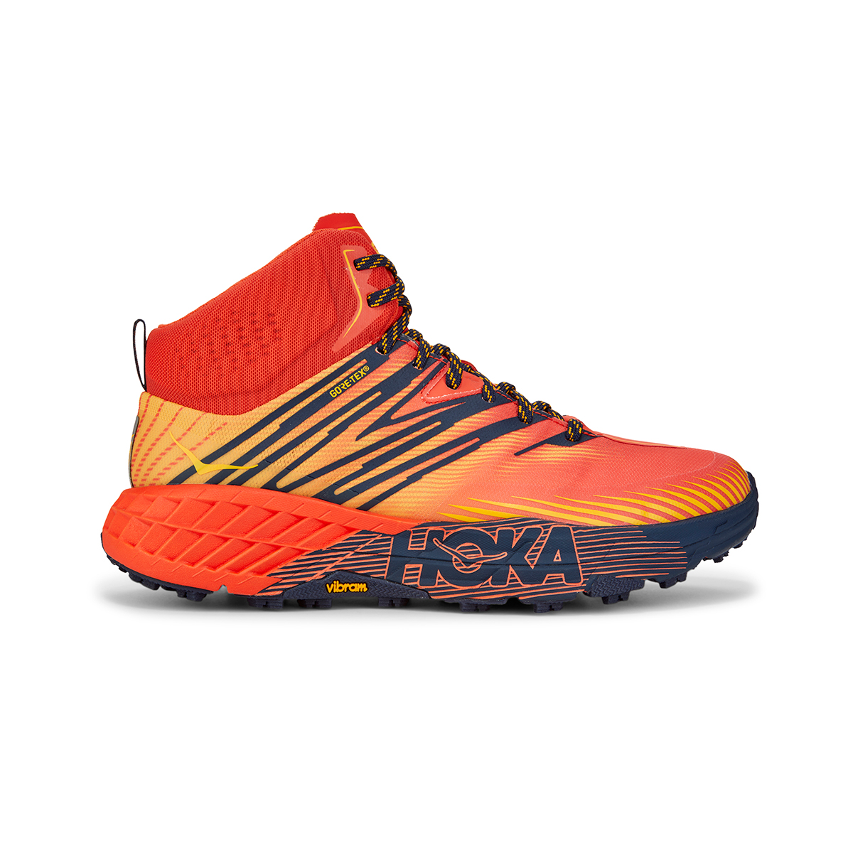 Men's Hoka One One Speedgoat Mid Gore-Tex Trail Hiking Shoe - Color: Mandarin Red / Gold Fusion - Size: 7 - Width: Regular, Mandarin Red / Gold Fusion, large, image 1
