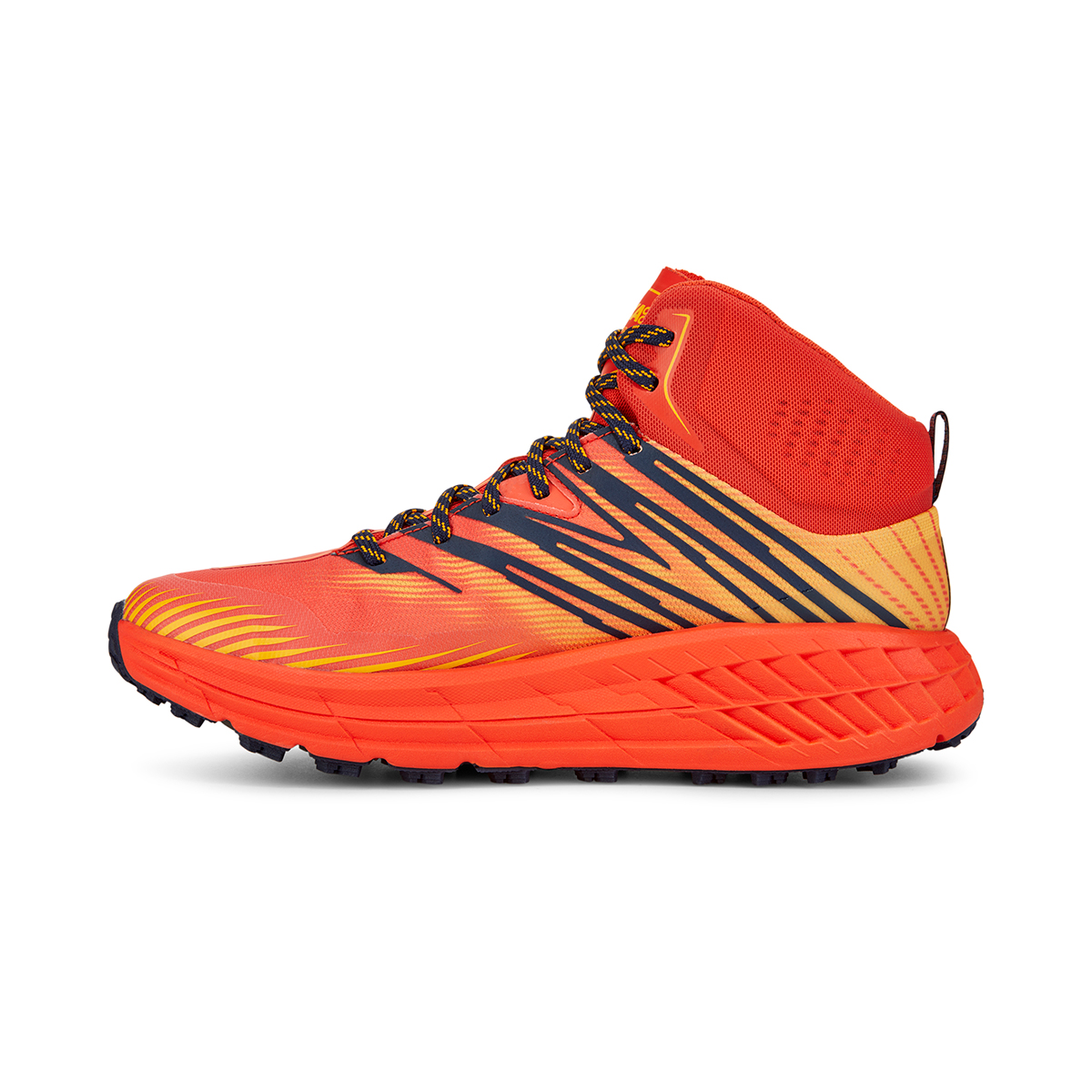 Men's Hoka One One Speedgoat Mid Gore-Tex Trail Hiking Shoe - Color: Mandarin Red / Gold Fusion - Size: 7 - Width: Regular, Mandarin Red / Gold Fusion, large, image 2