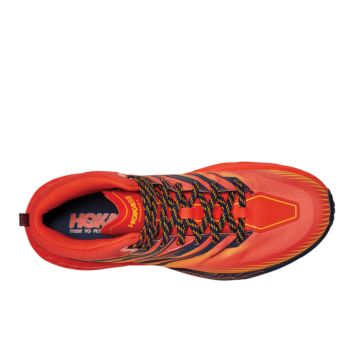 Men's Hoka One One Speedgoat Mid Gore-Tex Trail Hiking Shoe - Color: Mandarin Red / Gold Fusion - Size: 7 - Width: Regular, Mandarin Red / Gold Fusion, large, image 3