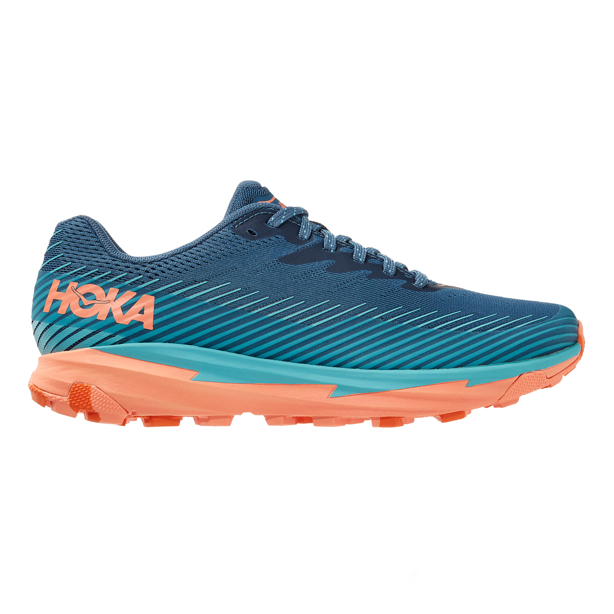 Women's Hoka One One Torrent 2 Trail Running Shoe - Color: Real Teal / Cantaloupe - Size: 5 - Width: Regular, Real Teal / Cantaloupe, large, image 1