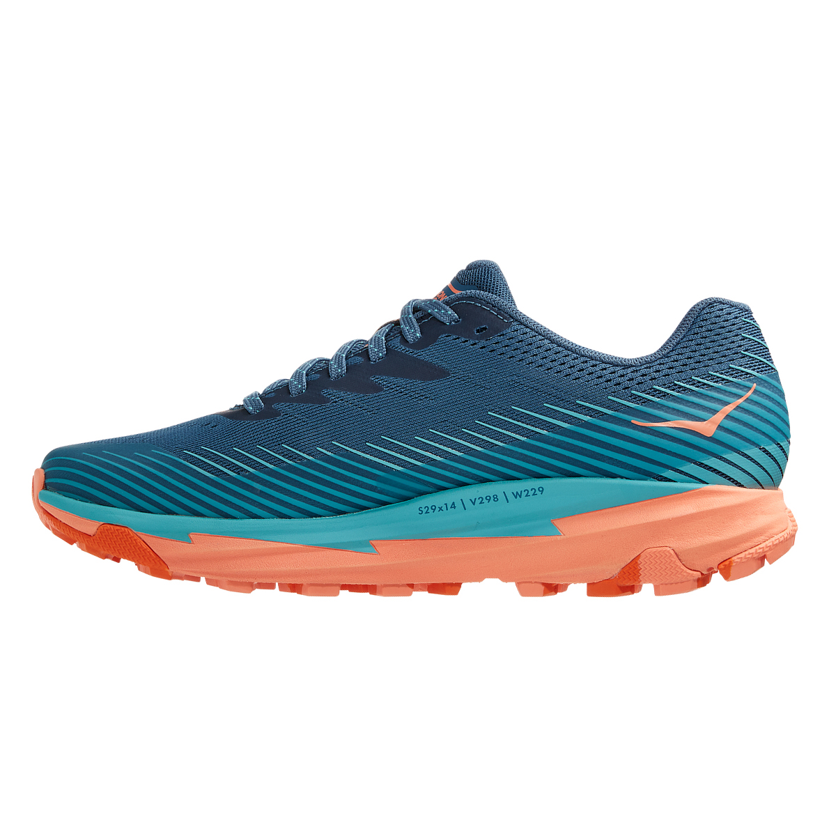 Women's Hoka One One Torrent 2 Trail Running Shoe - Color: Real Teal / Cantaloupe - Size: 5 - Width: Regular, Real Teal / Cantaloupe, large, image 2