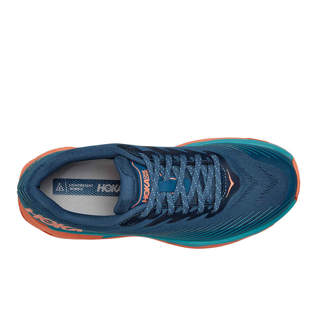 Women's Hoka One One Torrent 2 Trail Running Shoe - Color: Real Teal / Cantaloupe - Size: 5 - Width: Regular, Real Teal / Cantaloupe, large, image 3
