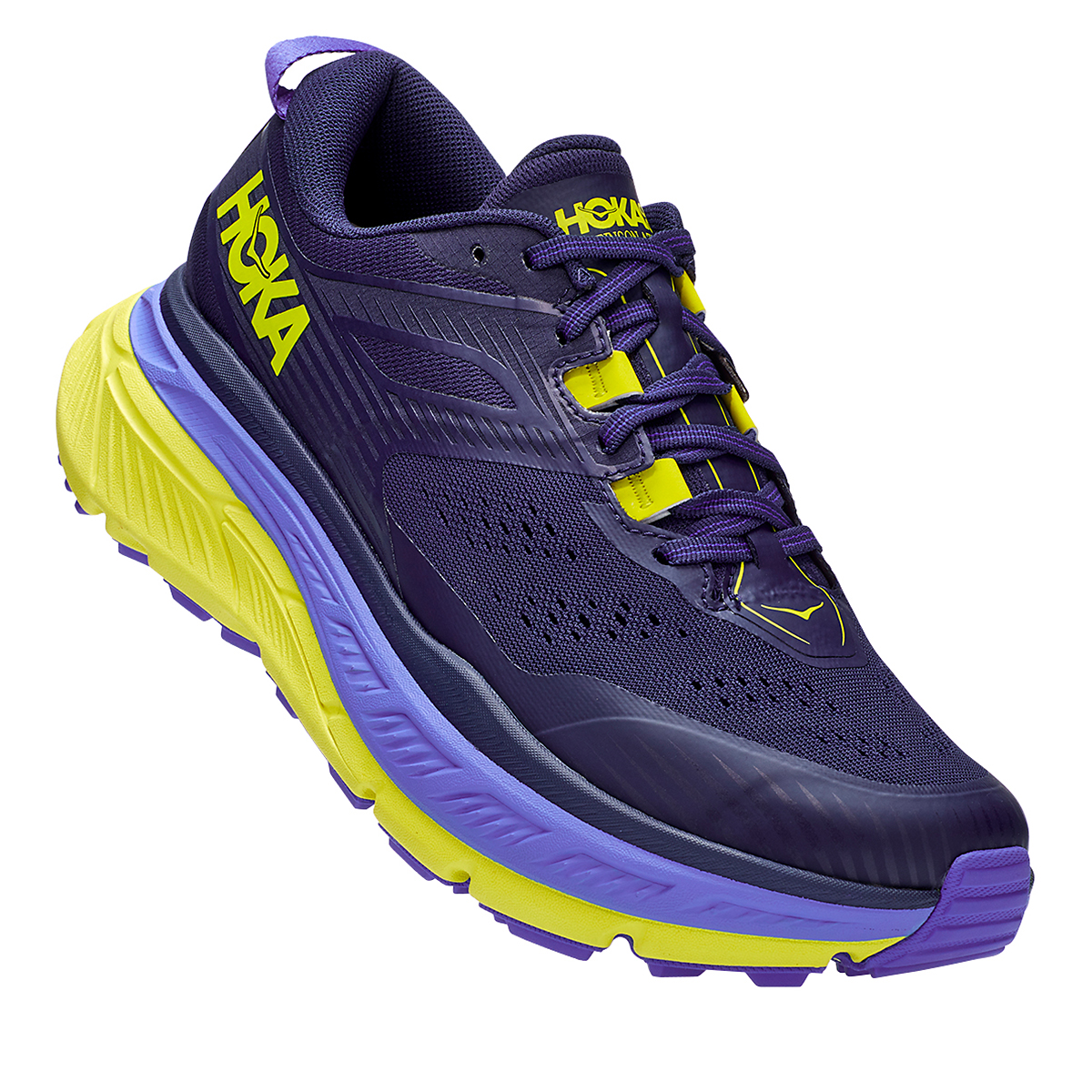 Men's Hoka One One Stinson Atr 6 Trail Running Shoe - Color: Black Iris/Evening Primrose - Size: 7 - Width: Regular, Black Iris/Evening Primrose, large, image 4