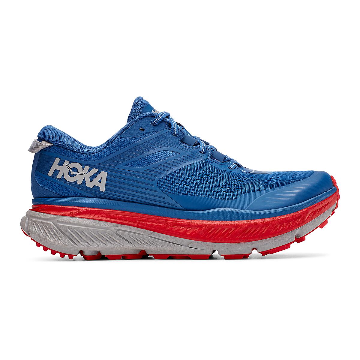 Men's Hoka One One Stinson Atr 6 Trail Running Shoe - Color: Dark Blue/High Risk Red - Size: 7 - Width: Regular, Dark Blue/High Risk Red, large, image 1