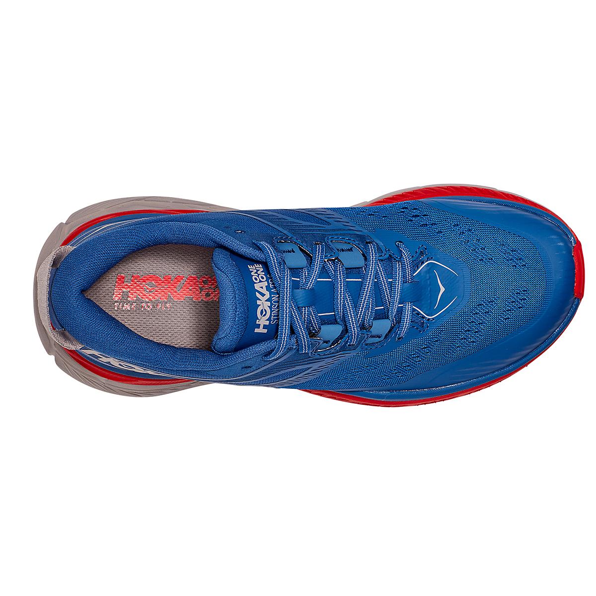Men's Hoka One One Stinson Atr 6 Trail Running Shoe - Color: Dark Blue/High Risk Red - Size: 7 - Width: Regular, Dark Blue/High Risk Red, large, image 2