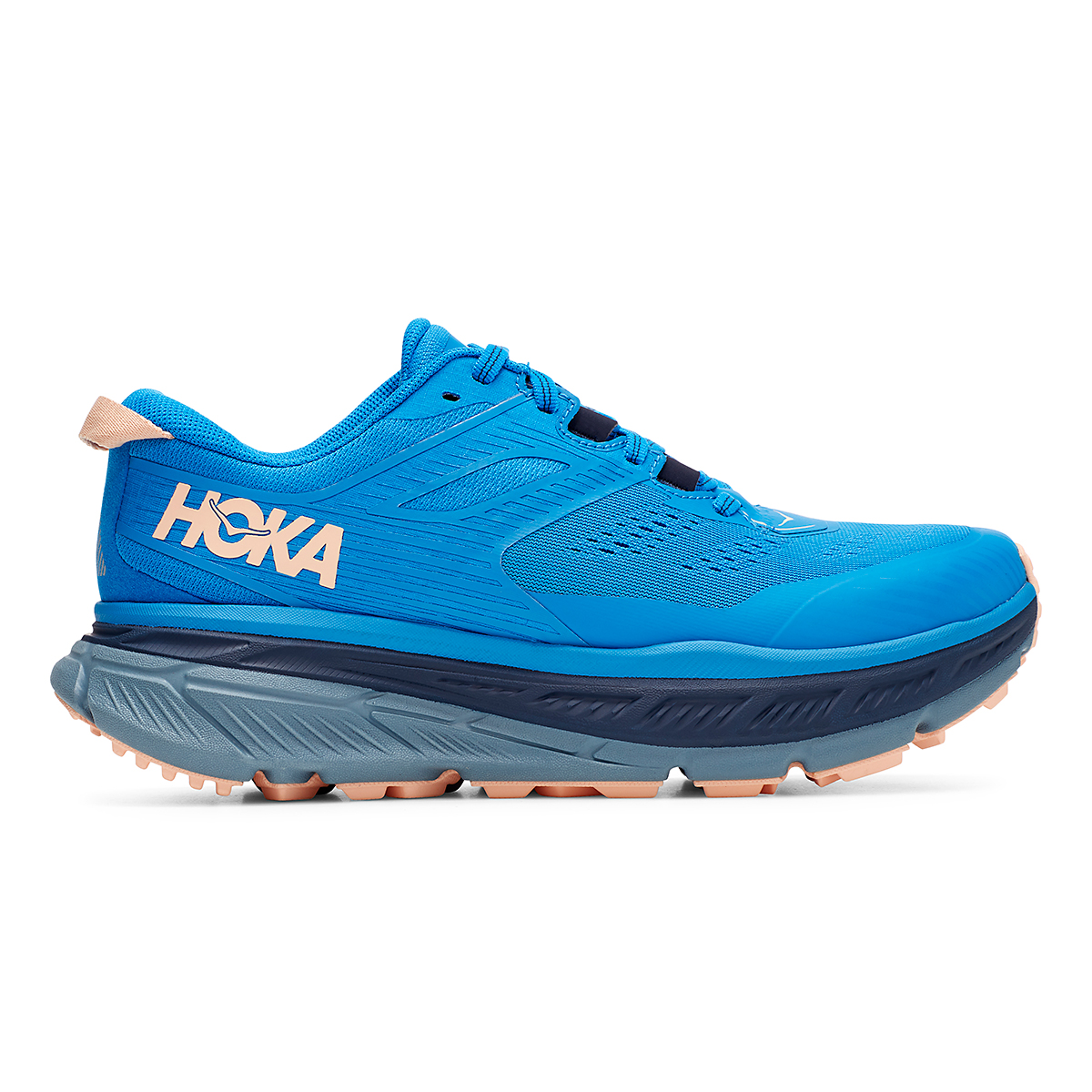 Women's Hoka One One Stinson Atr 6 Trail Running Shoe - Color: Indigo Bunting/Bleached Apricot - Size: 5 - Width: Regular, Indigo Bunting/Bleached Apricot, large, image 1