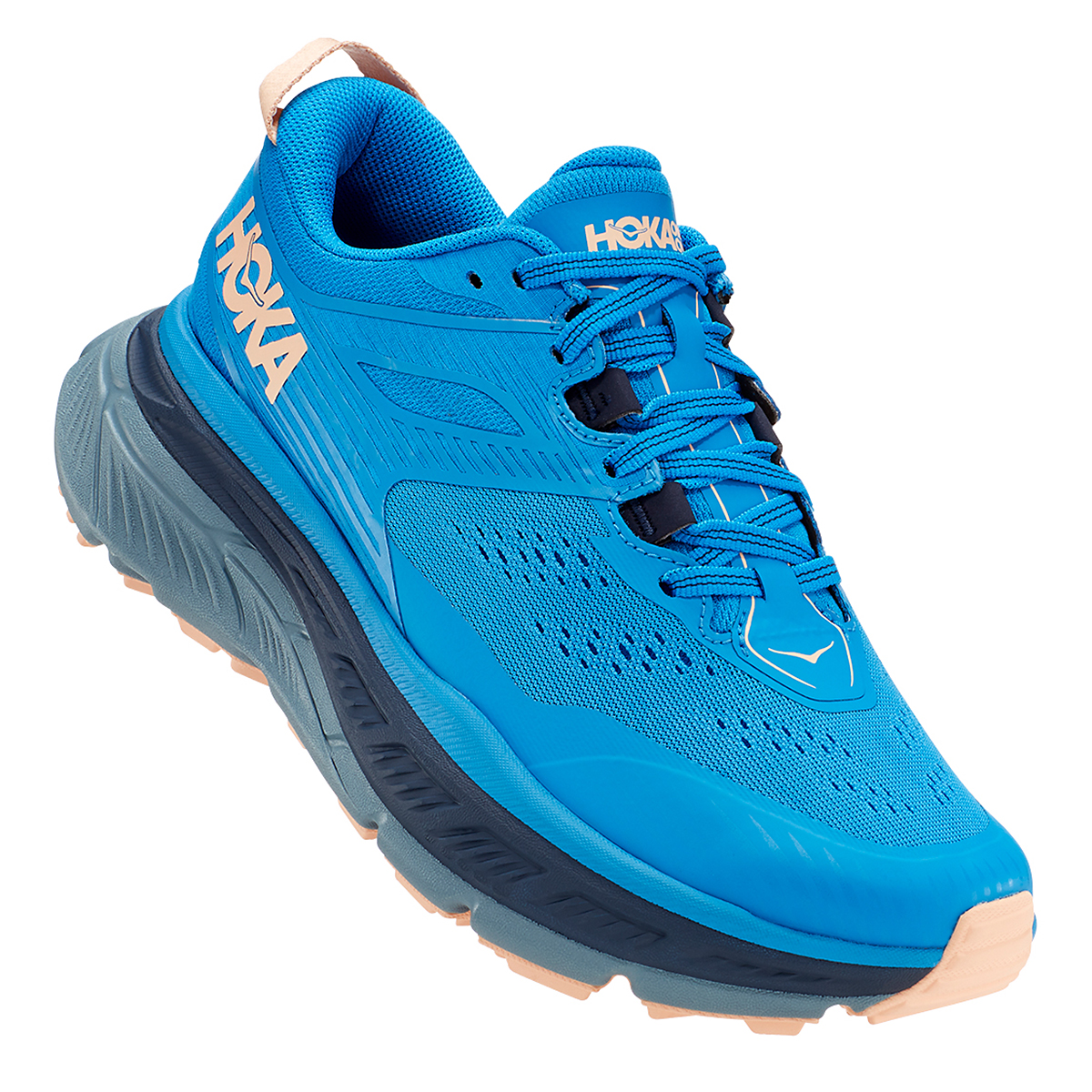 Women's Hoka One One Stinson Atr 6 Trail Running Shoe - Color: Indigo Bunting/Bleached Apricot - Size: 5 - Width: Regular, Indigo Bunting/Bleached Apricot, large, image 4