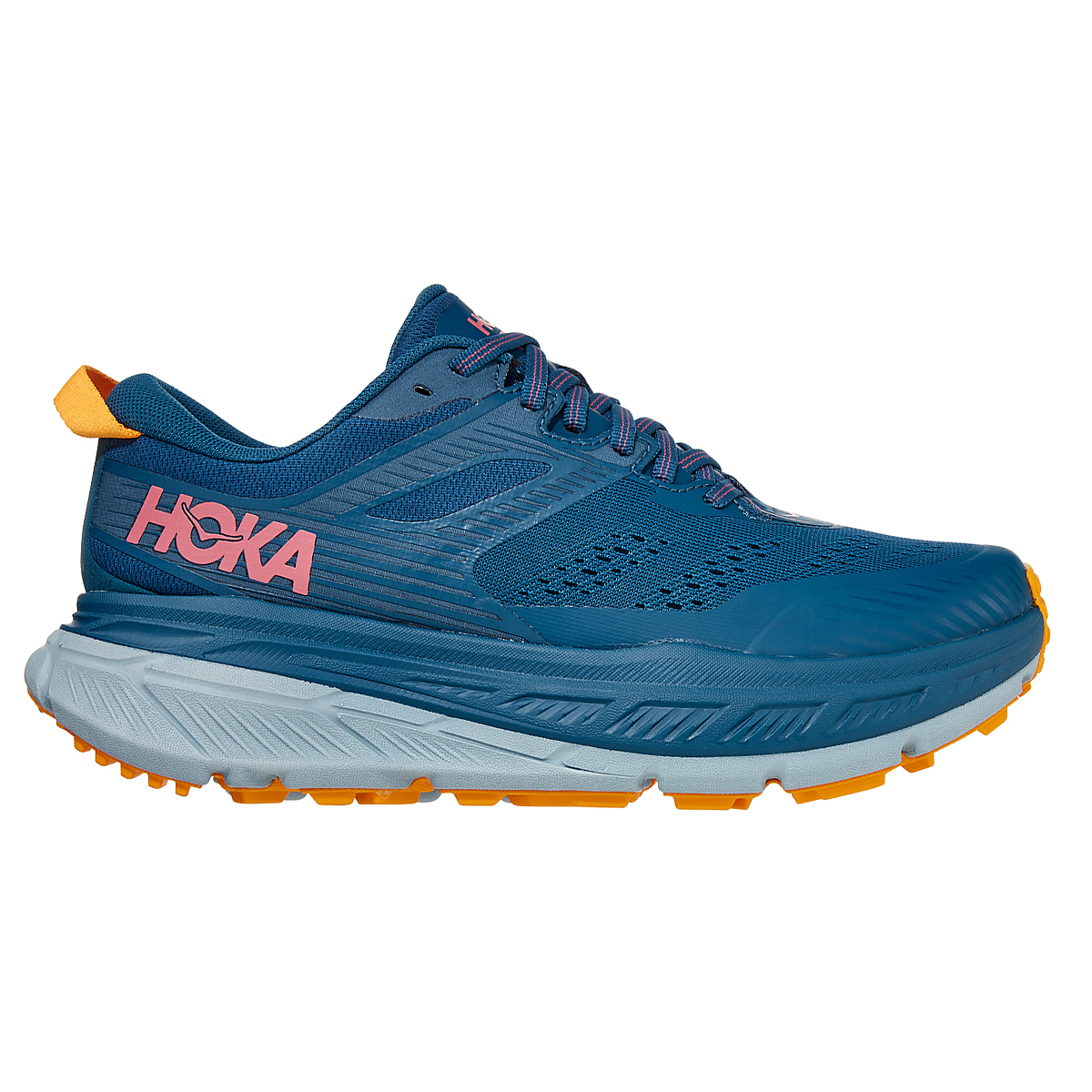 Women's Hoka One One Stinson ATR 6 Trail Running Shoe - Color: Moroccan Blue/Saffron - Size: 5 - Width: Regular, Moroccan Blue/Saffron, large, image 1