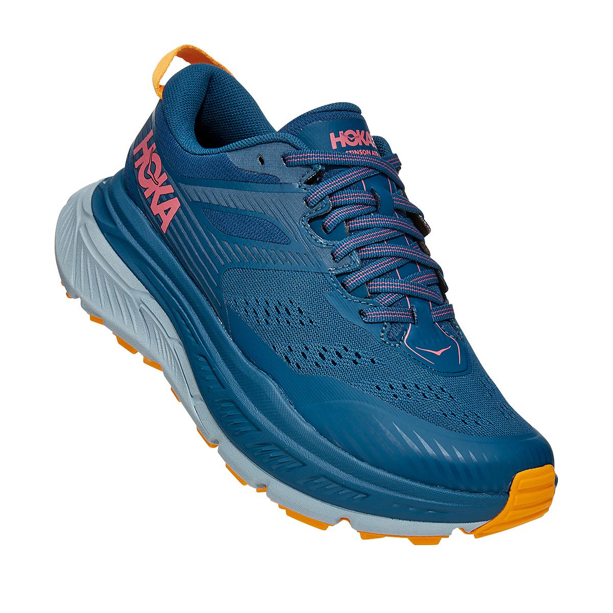 Women's Hoka One One Stinson ATR 6 Trail Running Shoe - Color: Moroccan Blue/Saffron - Size: 5 - Width: Regular, Moroccan Blue/Saffron, large, image 2