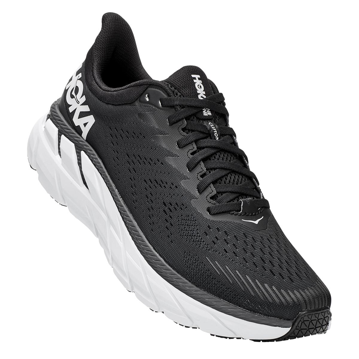 Men's Hoka One One Clifton 7 Running Shoe - Color: Black/White - Size: 7 - Width: Regular, Black/White, large, image 4