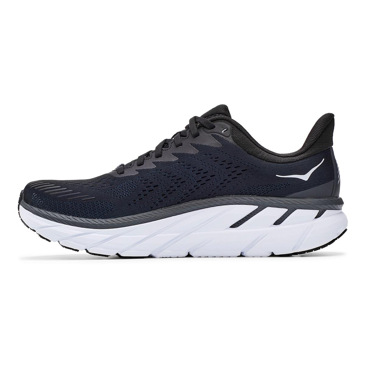 Men's Hoka One One Clifton 7 Running Shoe - Color: Black/White - Size: 7 - Width: Regular, Black/White, large, image 6