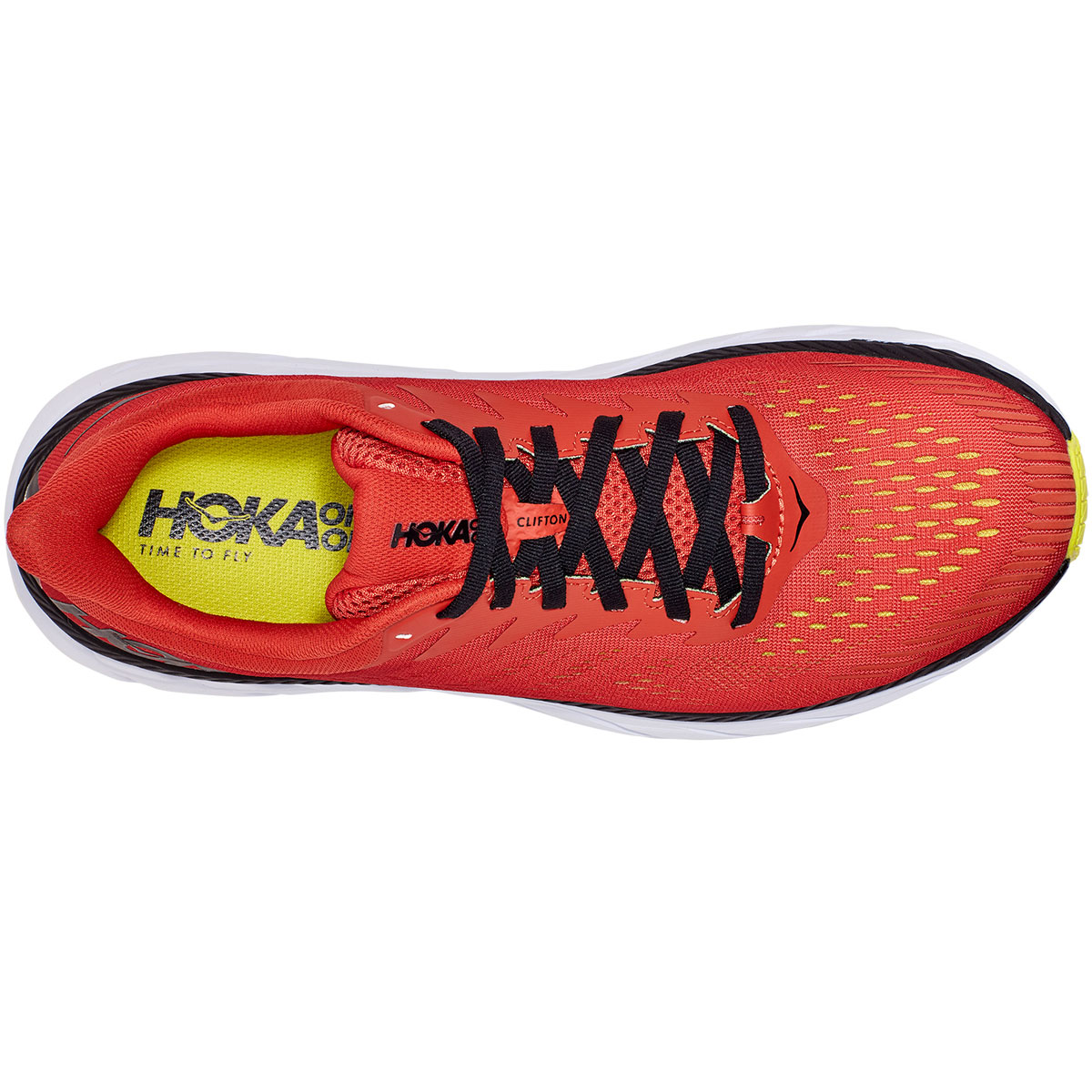 Men's Hoka One One Clifton 7 Running Shoe - Color: Chili/Black - Size: 9 - Width: Regular, Chili/Black, large, image 2