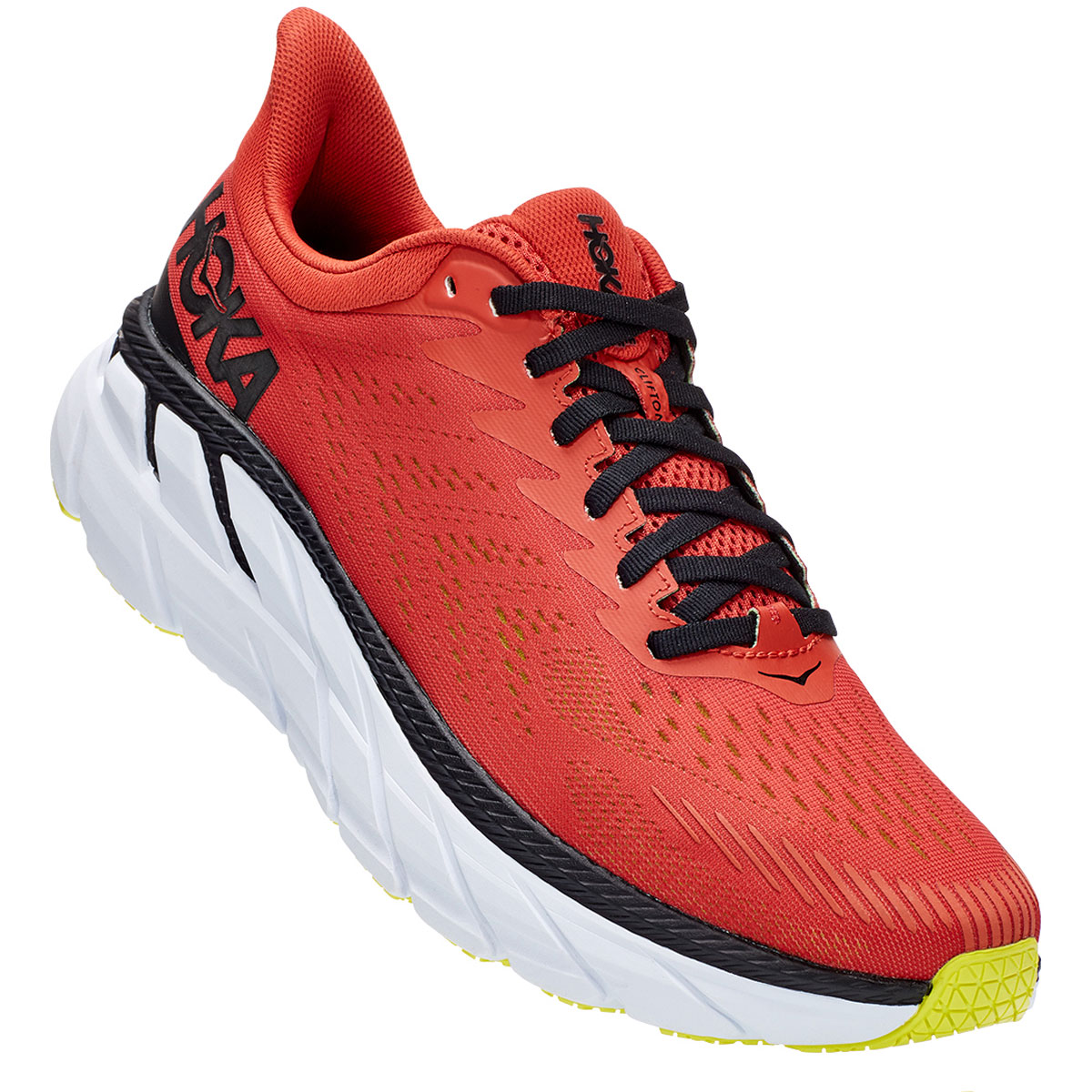 Men's Hoka One One Clifton 7 Running Shoe - Color: Chili/Black - Size: 9 - Width: Regular, Chili/Black, large, image 4