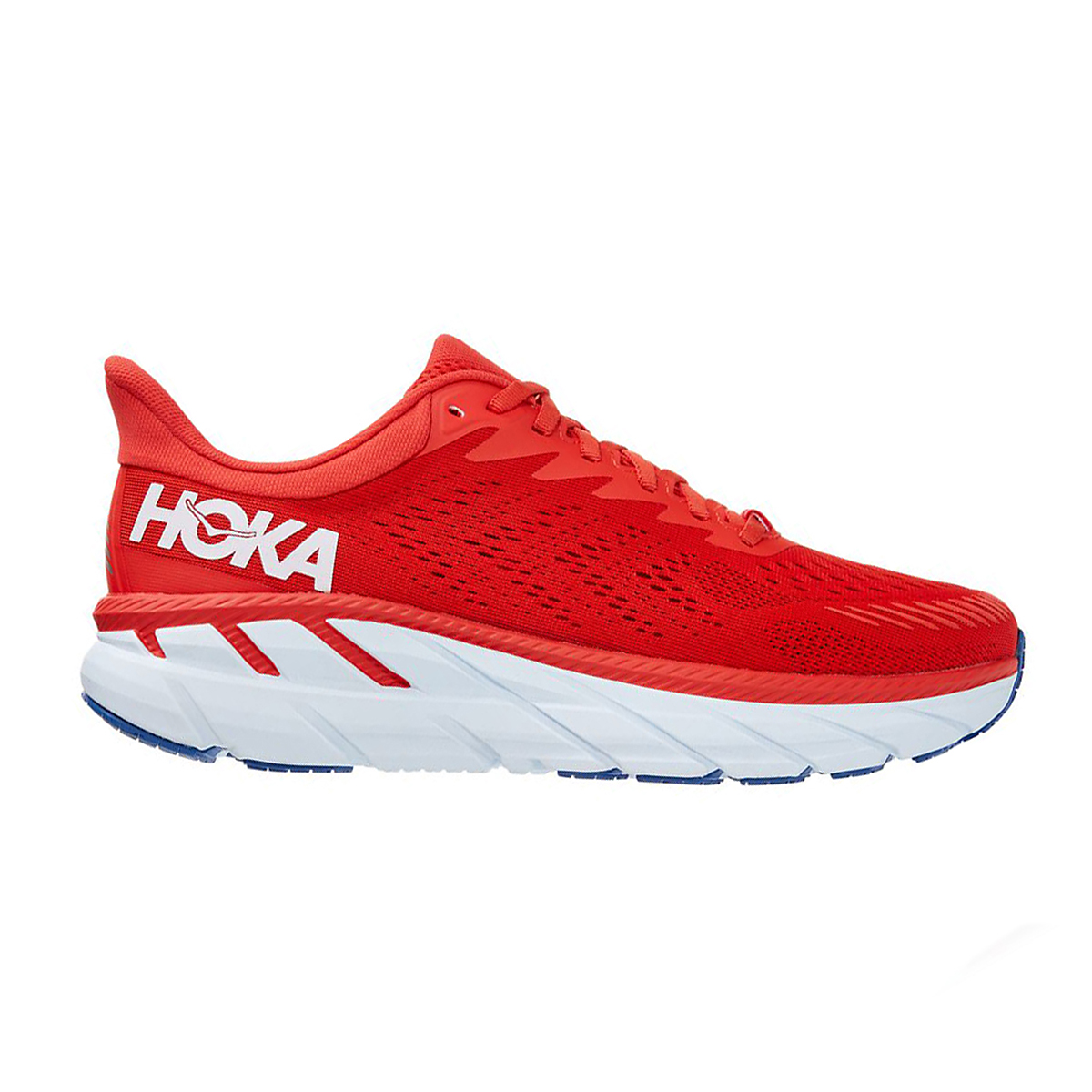 Men's Hoka One One Clifton 7 Running Shoe - Color: Fiesta/White - Size: 7 - Width: Regular, Fiesta/White, large, image 1