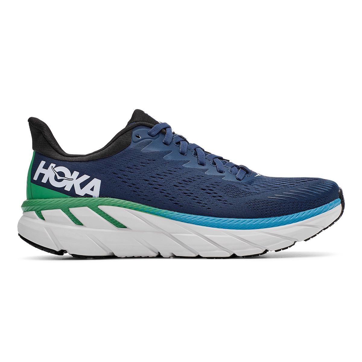 Men's Hoka One One Clifton 7 Running Shoe - Color: Moonlit Ocean/Anthracite - Size: 7 - Width: Regular, Moonlit Ocean/Anthracite, large, image 1