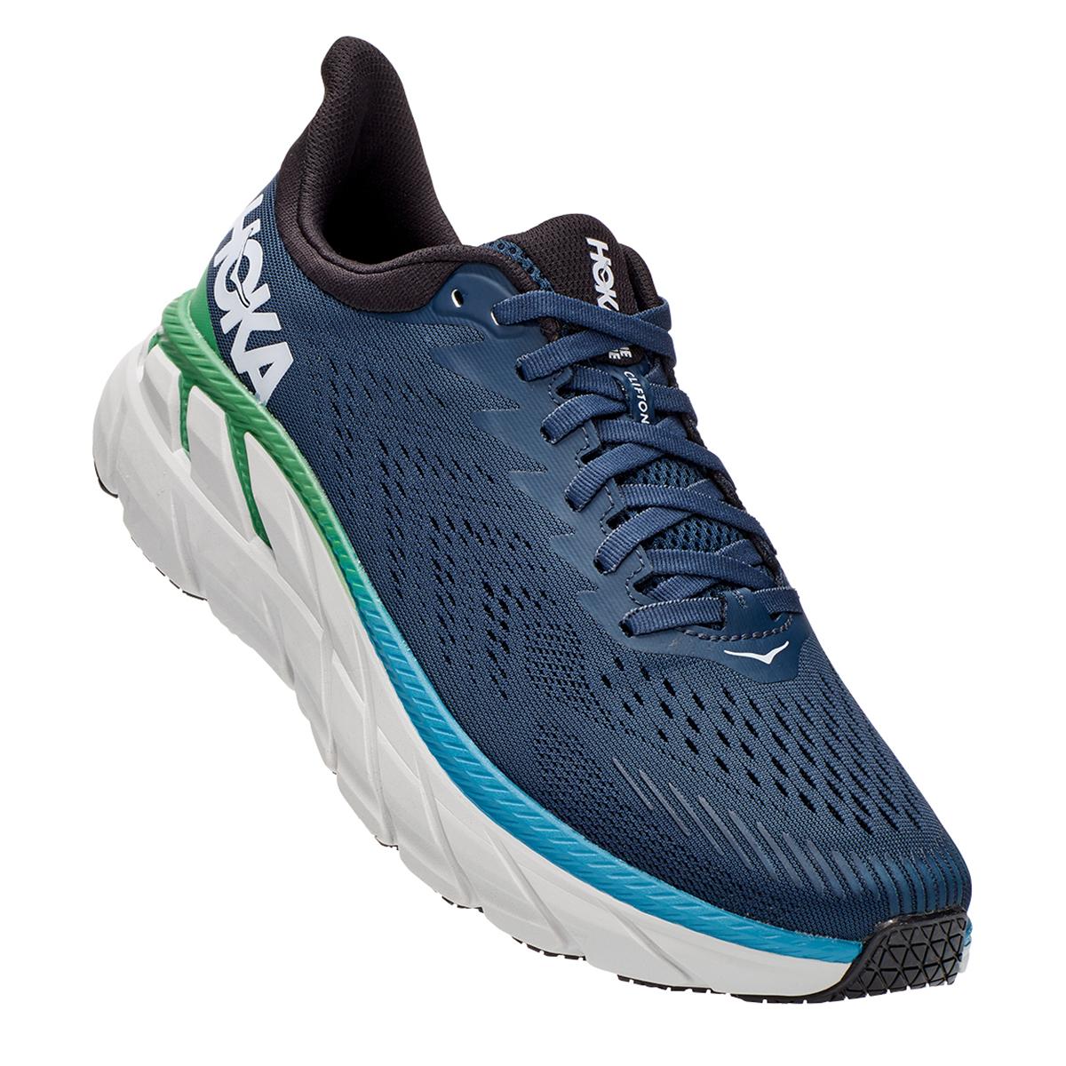 Men's Hoka One One Clifton 7 Running Shoe - Color: Moonlit Ocean/Anthracite - Size: 7 - Width: Regular, Moonlit Ocean/Anthracite, large, image 4
