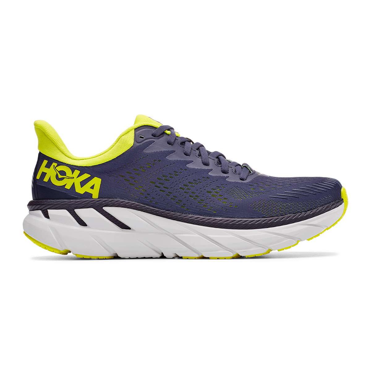 Men's Hoka One One Clifton 7 Running Shoe - Color: Odyssey Grey/Evening Primrose - Size: 7 - Width: Regular, Odyssey Grey/Evening Primrose, large, image 1