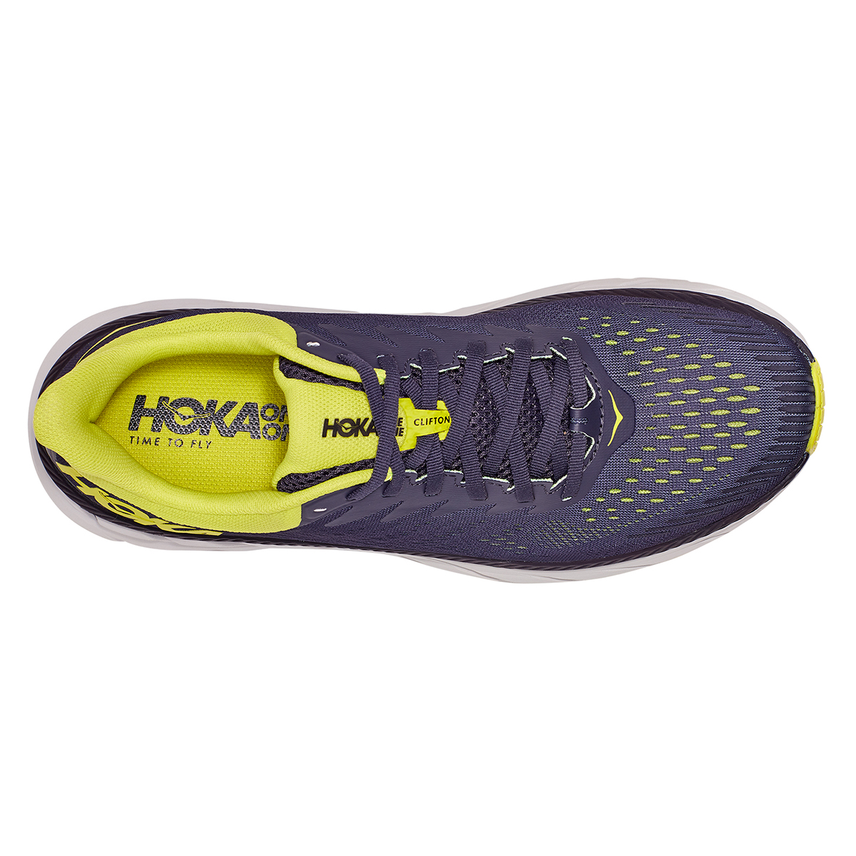 Men's Hoka One One Clifton 7 Running Shoe - Color: Odyssey Grey/Evening Primrose - Size: 7 - Width: Regular, Odyssey Grey/Evening Primrose, large, image 2