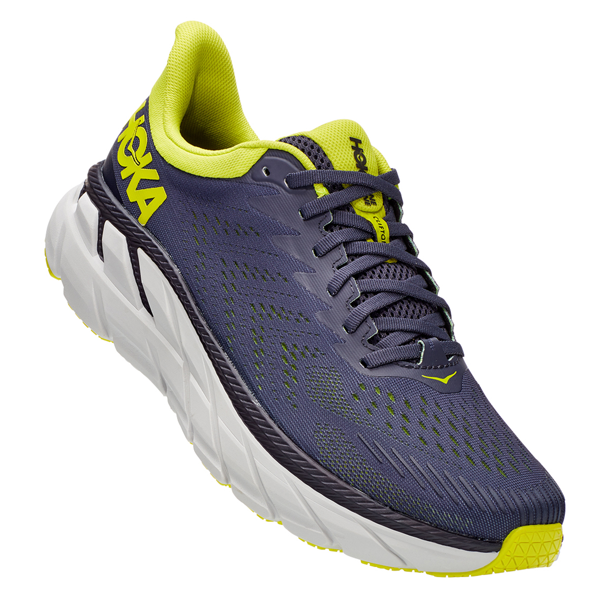 Men's Hoka One One Clifton 7 Running Shoe - Color: Odyssey Grey/Evening Primrose - Size: 7 - Width: Regular, Odyssey Grey/Evening Primrose, large, image 4