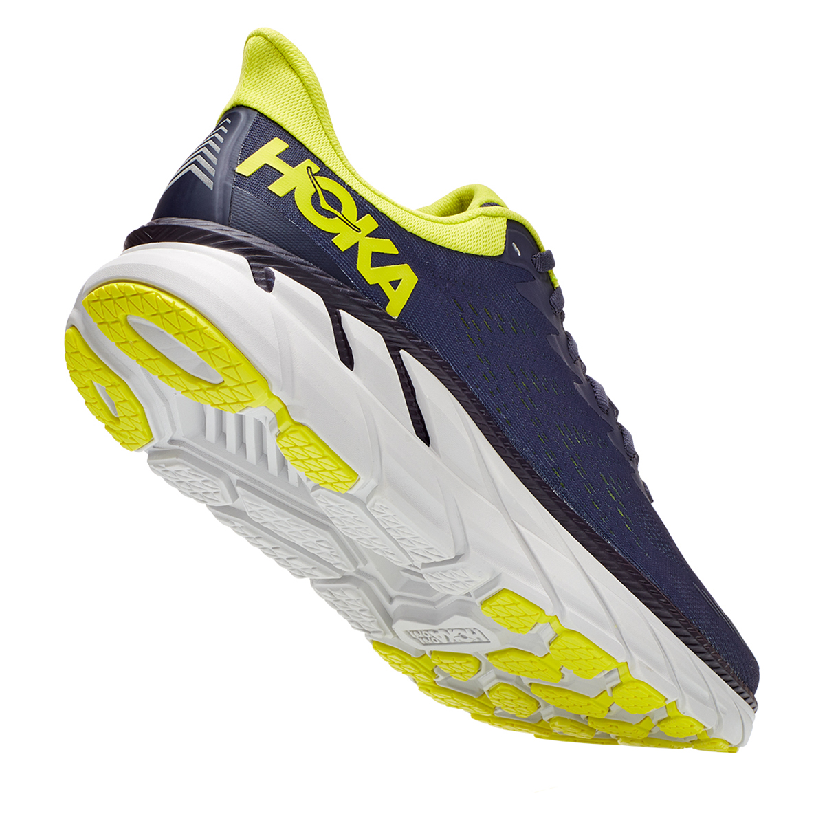 Men's Hoka One One Clifton 7 Running Shoe - Color: Odyssey Grey/Evening Primrose - Size: 7 - Width: Regular, Odyssey Grey/Evening Primrose, large, image 5