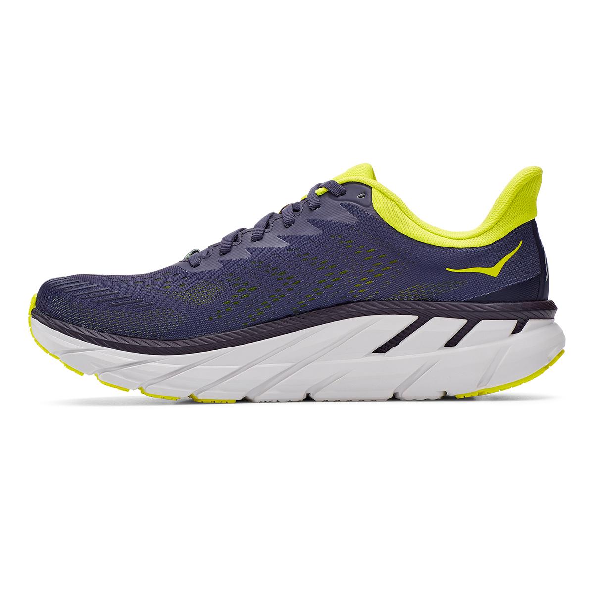 Men's Hoka One One Clifton 7 Running Shoe - Color: Odyssey Grey/Evening Primrose - Size: 7 - Width: Regular, Odyssey Grey/Evening Primrose, large, image 6