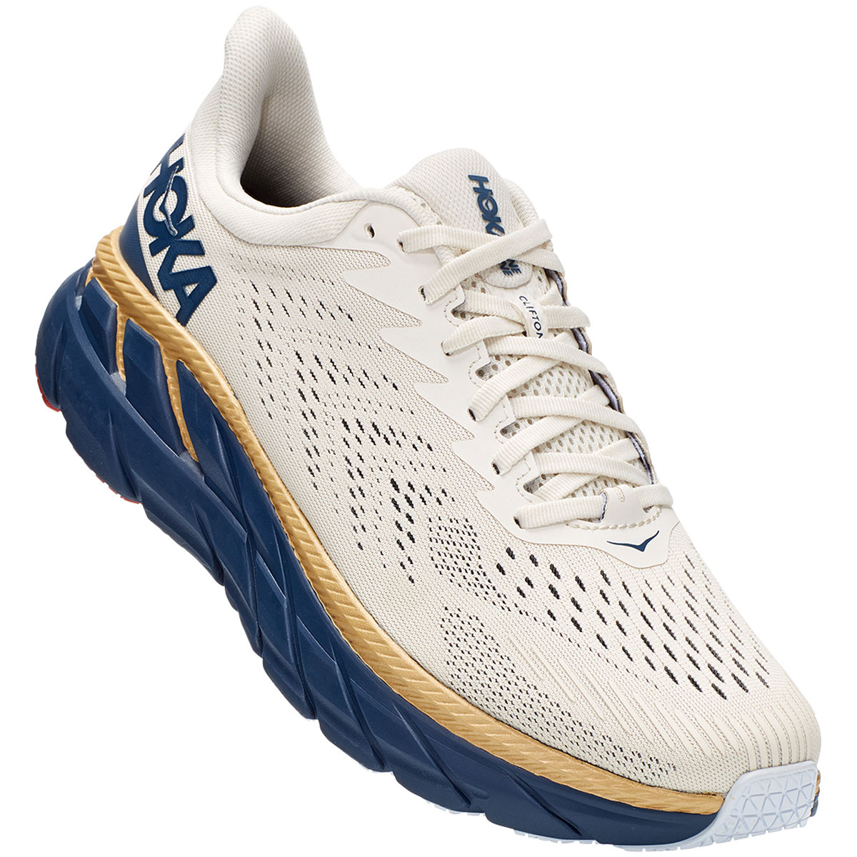 Men's Hoka One One Clifton 7 Running Shoe - Color: Tofu/Vintage - Size: 7 - Width: Regular, Tofu/Vintage, large, image 4