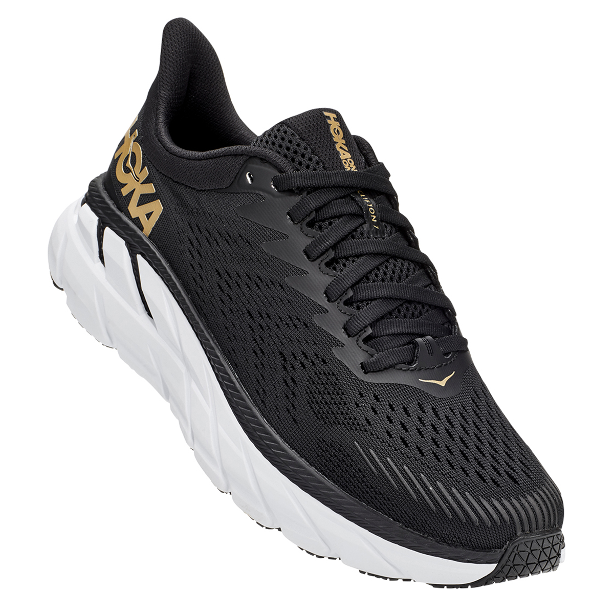 Women's Hoka One One Clifton 7 Running Shoe - Color: Black/Bronze - Size: 5 - Width: Regular, Black/Bronze, large, image 4