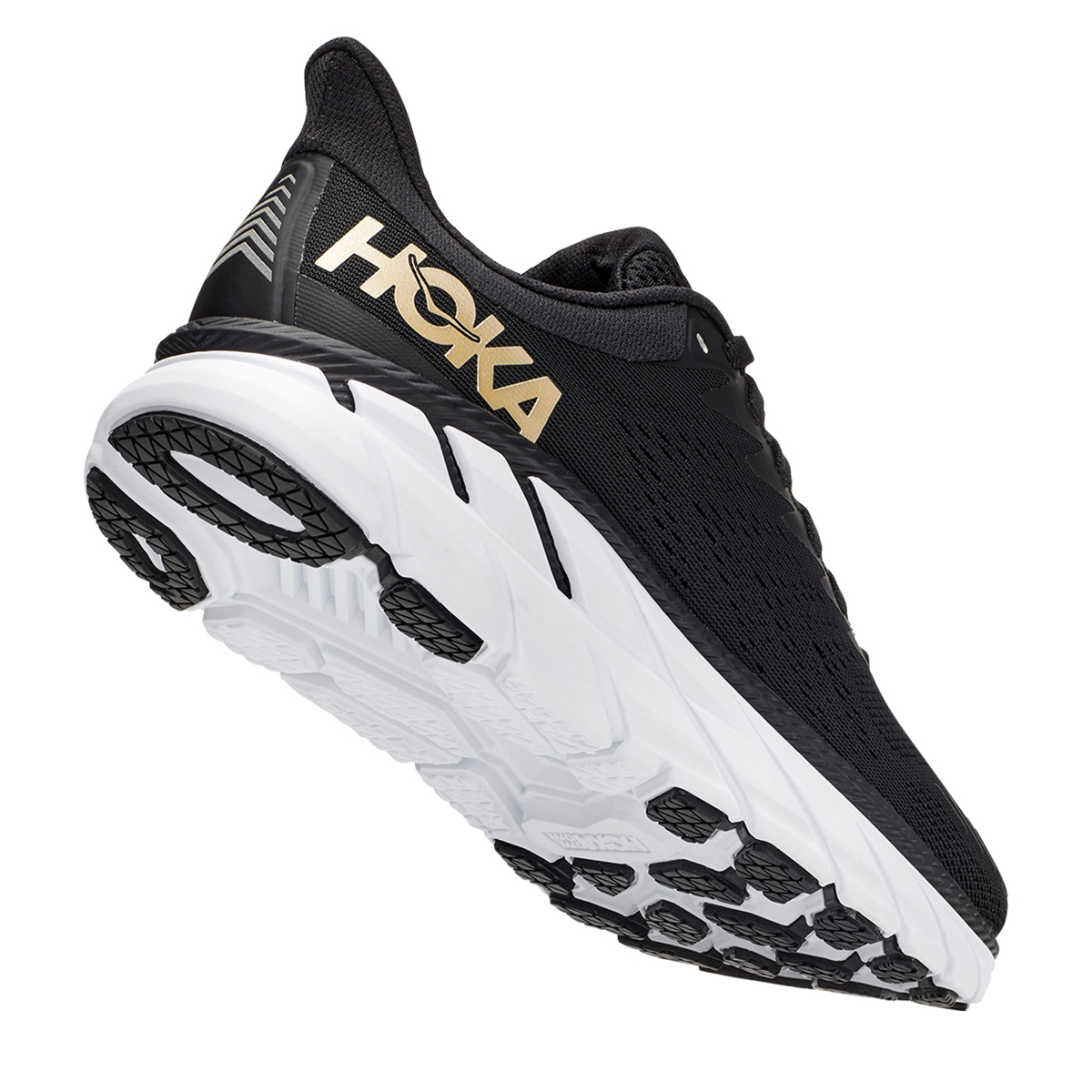 Women's Hoka One One Clifton 7 Running Shoe - Color: Black/Bronze - Size: 5 - Width: Regular, Black/Bronze, large, image 5