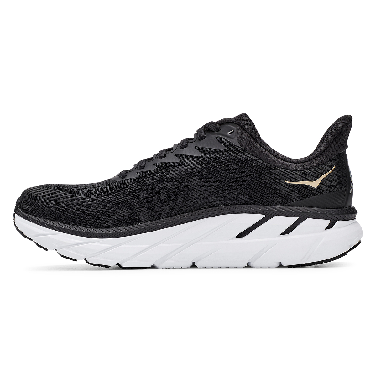 Women's Hoka One One Clifton 7 Running Shoe - Color: Black/Bronze - Size: 5 - Width: Regular, Black/Bronze, large, image 6