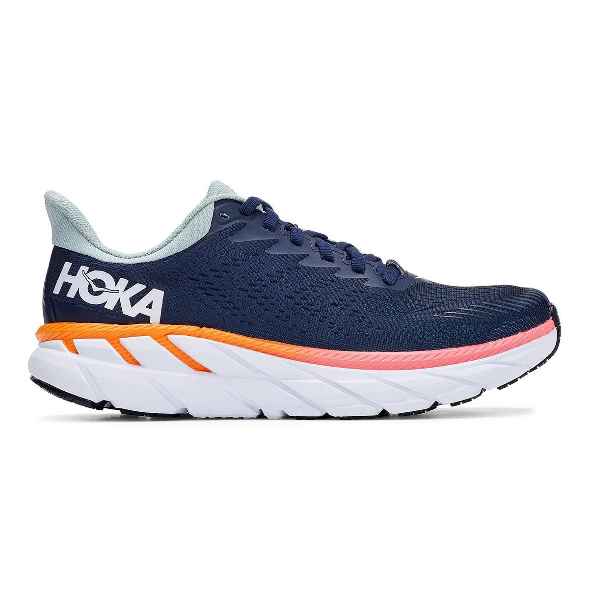 Women's Hoka One One Clifton 7 Running Shoe - Color: Black Iris/Blue Haze - Size: 6 - Width: Regular, Black Iris/Blue Haze, large, image 1