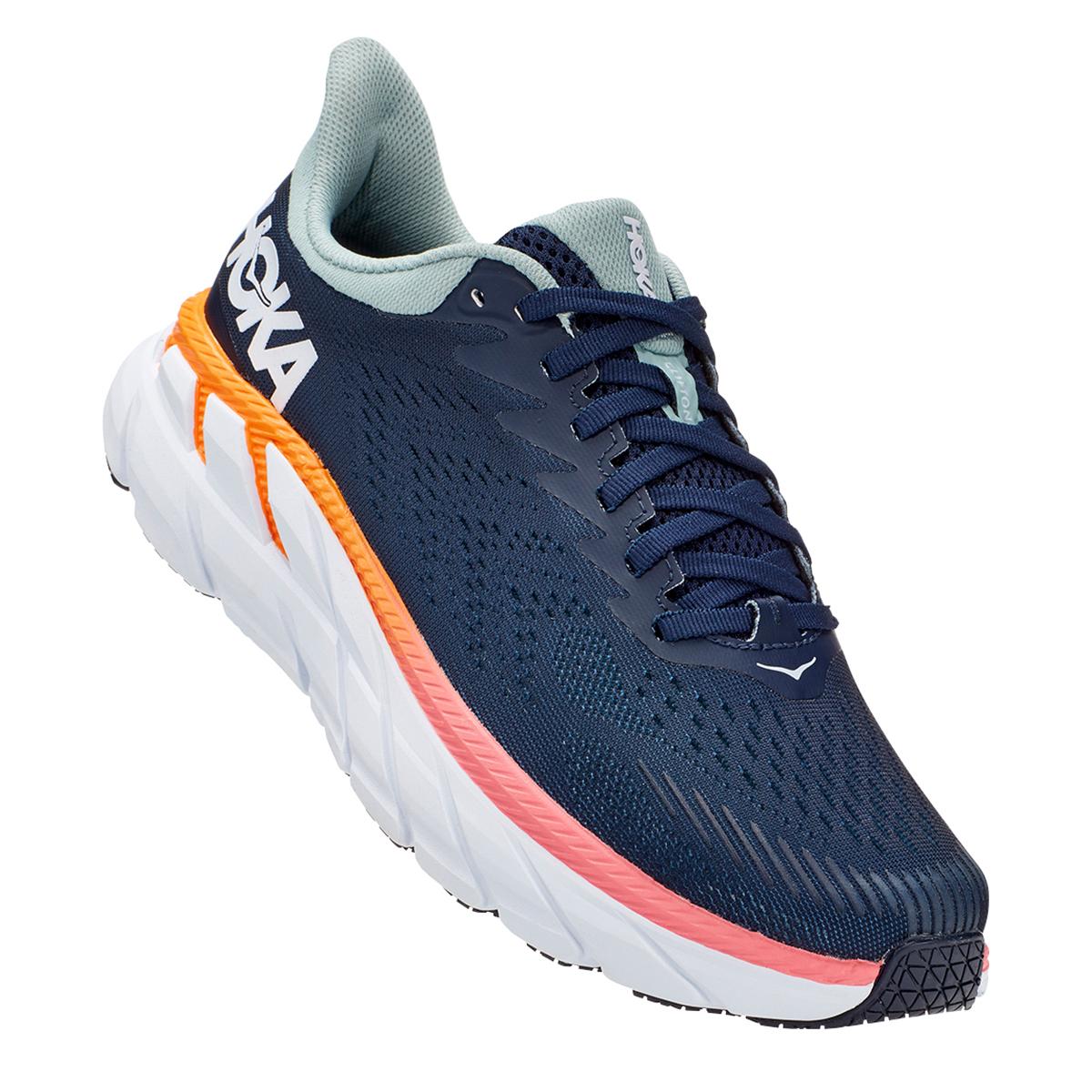 Women's Hoka One One Clifton 7 Running Shoe - Color: Black Iris/Blue Haze - Size: 6 - Width: Regular, Black Iris/Blue Haze, large, image 4