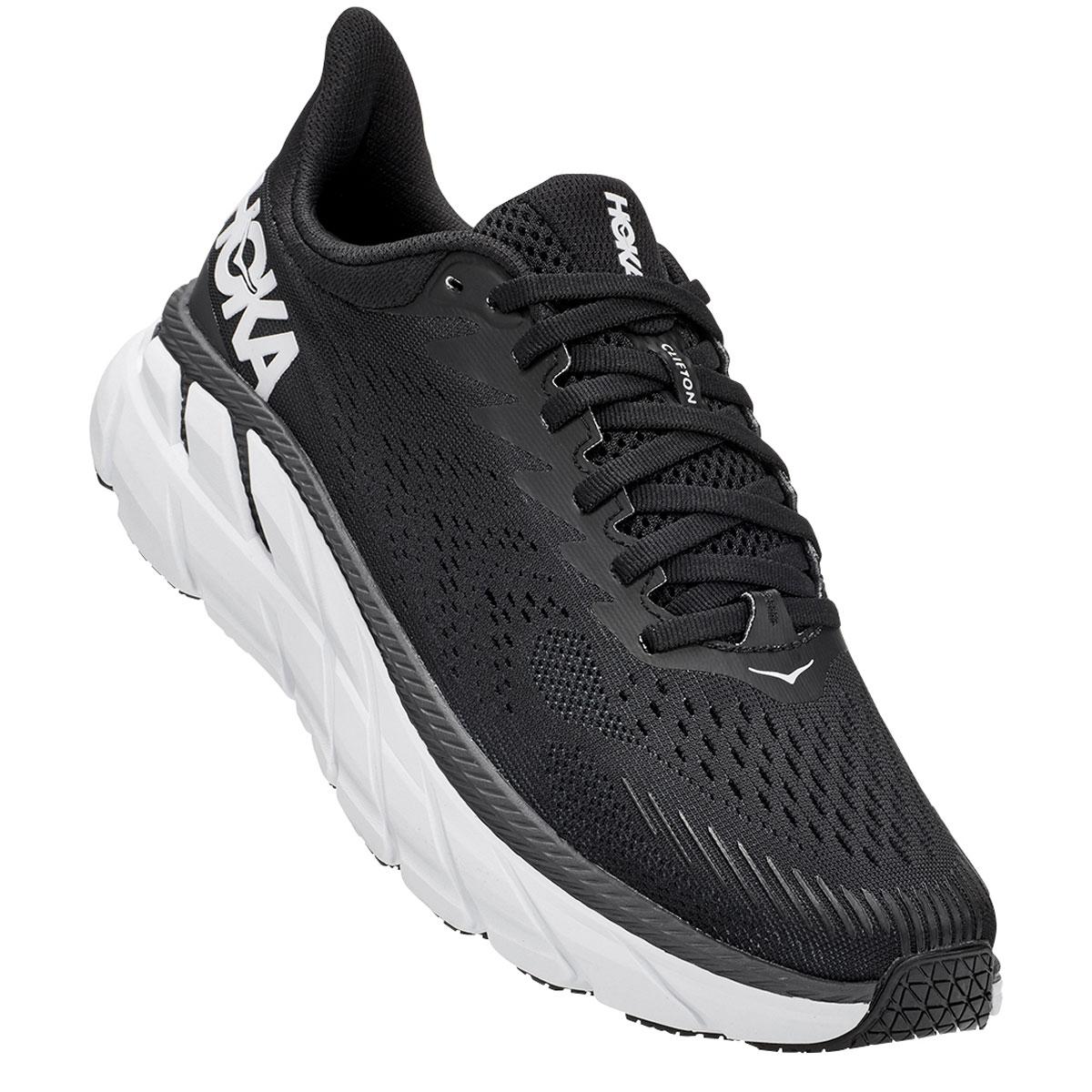 Women's Hoka One One Clifton 7 Running Shoe - Color: Black/White - Size: 5 - Width: Regular, Black/White, large, image 4