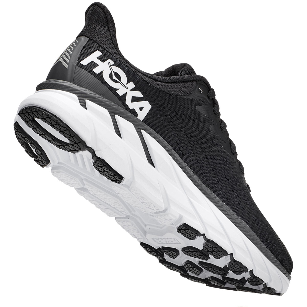 Women's Hoka One One Clifton 7 Running Shoe - Color: Black/White - Size: 5 - Width: Regular, Black/White, large, image 5