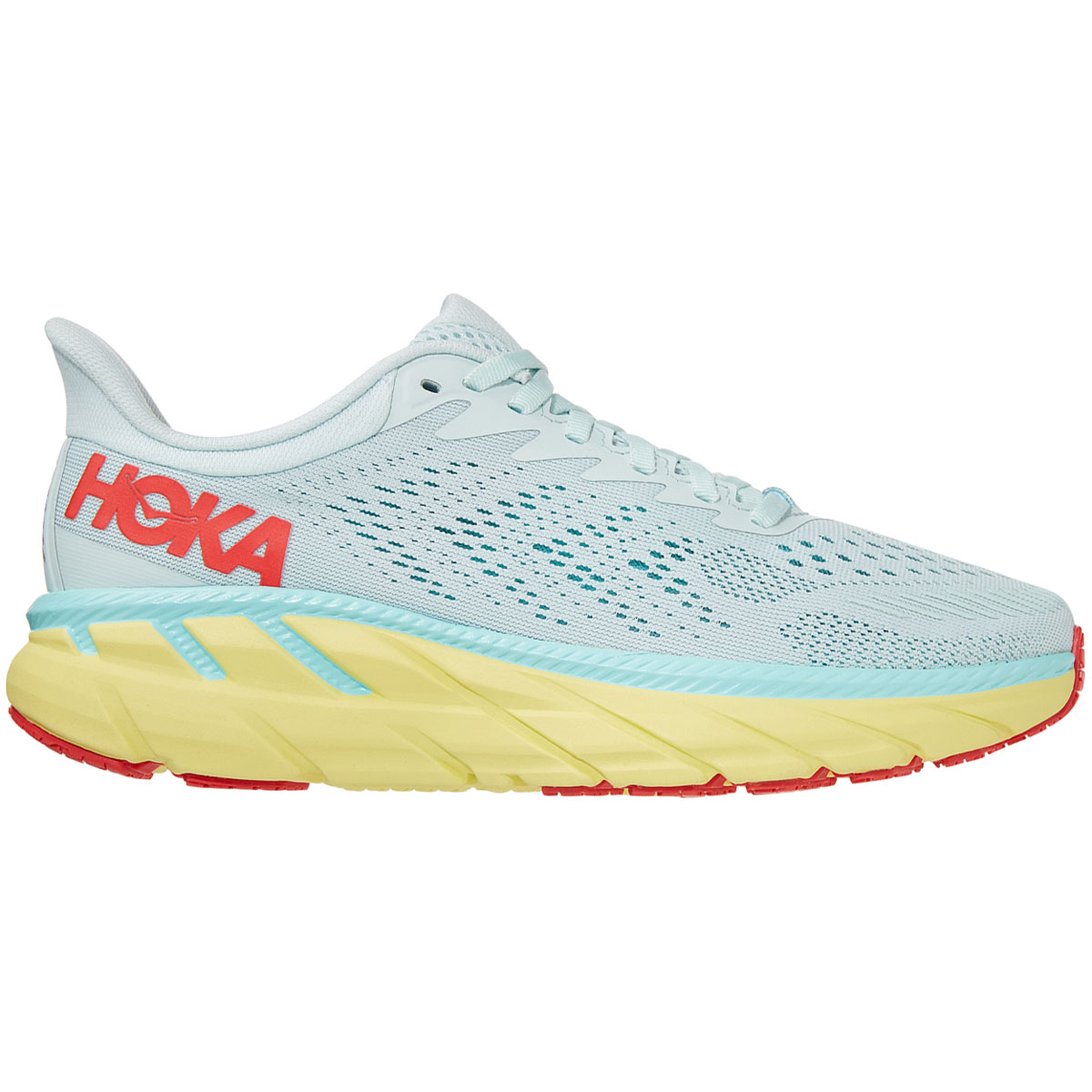 Women's Hoka One One Clifton 7 Running Shoe - Color: Morning Mist/Hot Coral - Size: 5 - Width: Regular, Morning Mist/Hot Coral, large, image 1
