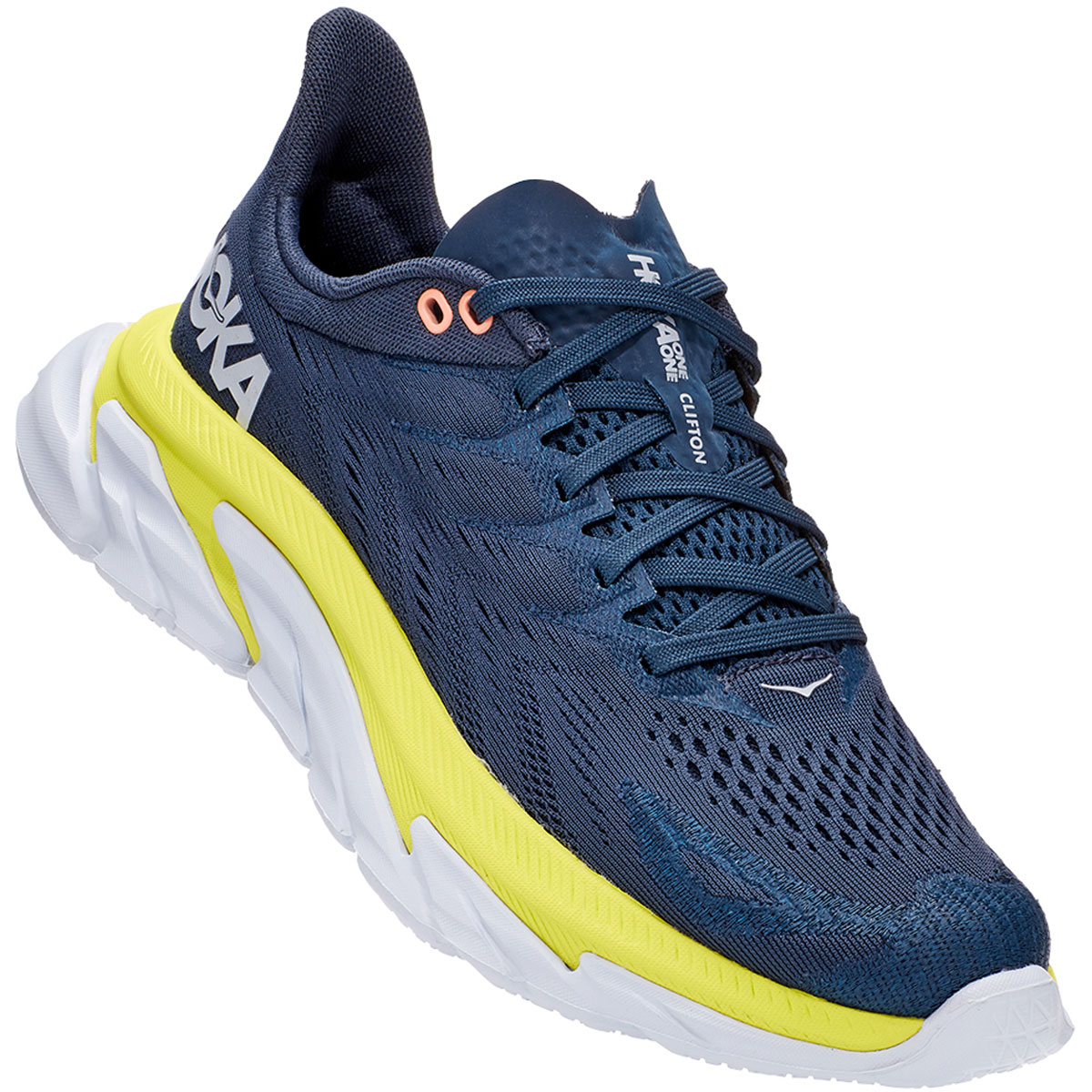 Women's Hoka One One Clifton Edge Running Shoe - Color: Moonlit Ocean/Evening Primrose - Size: 5 - Width: Regular, Moonlit Ocean/Evening Primrose, large, image 4