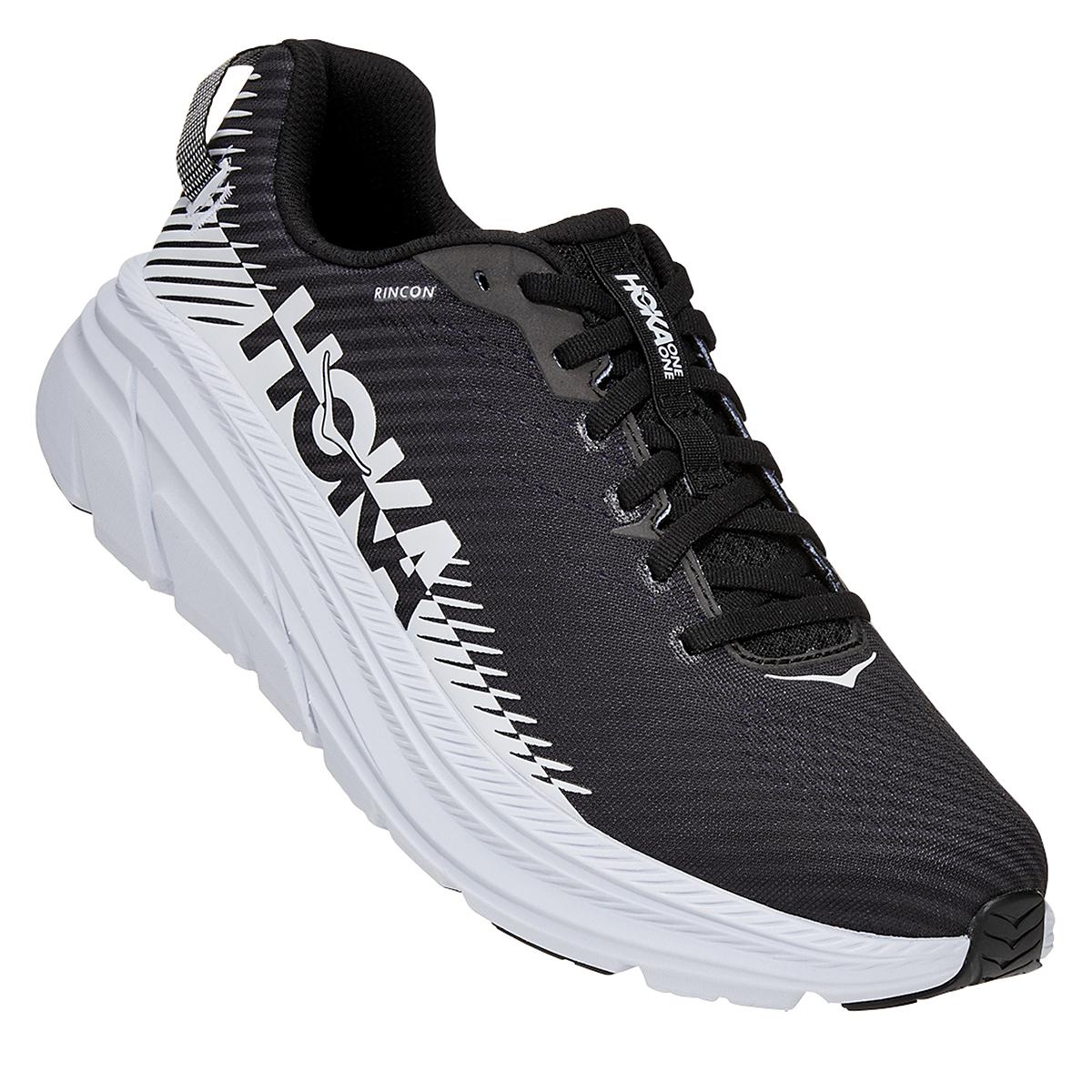Men's Hoka One One Rincon 2 Running Shoe - Color: Black/White - Size: 8 - Width: Regular, Black/White, large, image 3