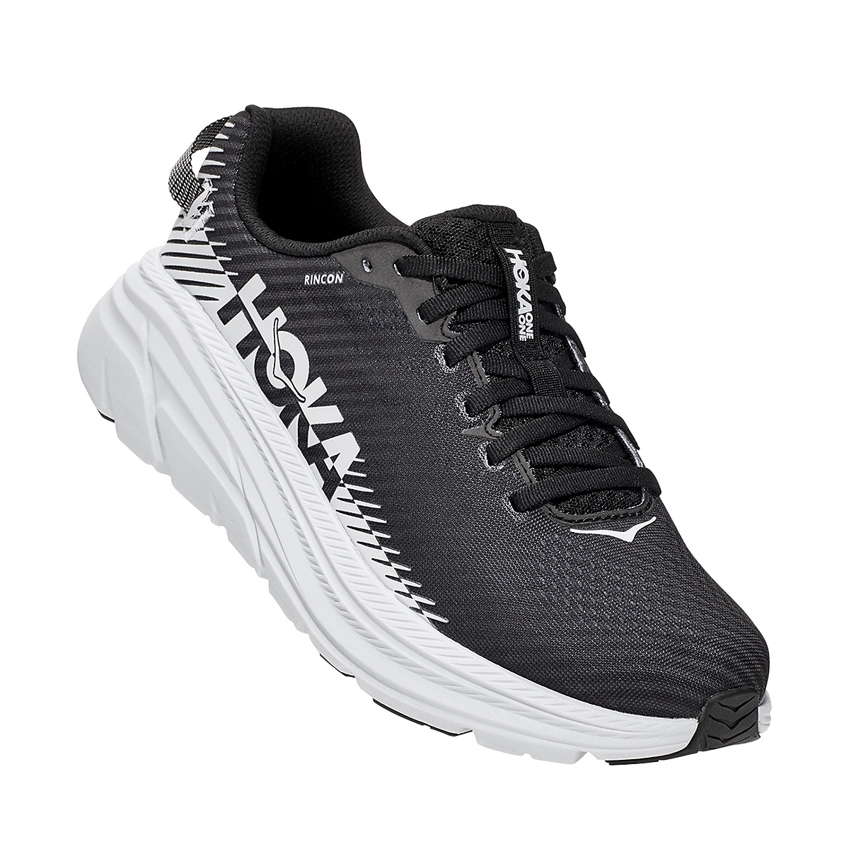 Women's Hoka One One Rincon 2 Running Shoe - Color: Black/White - Size: 5 - Width: Regular, Black/White, large, image 2