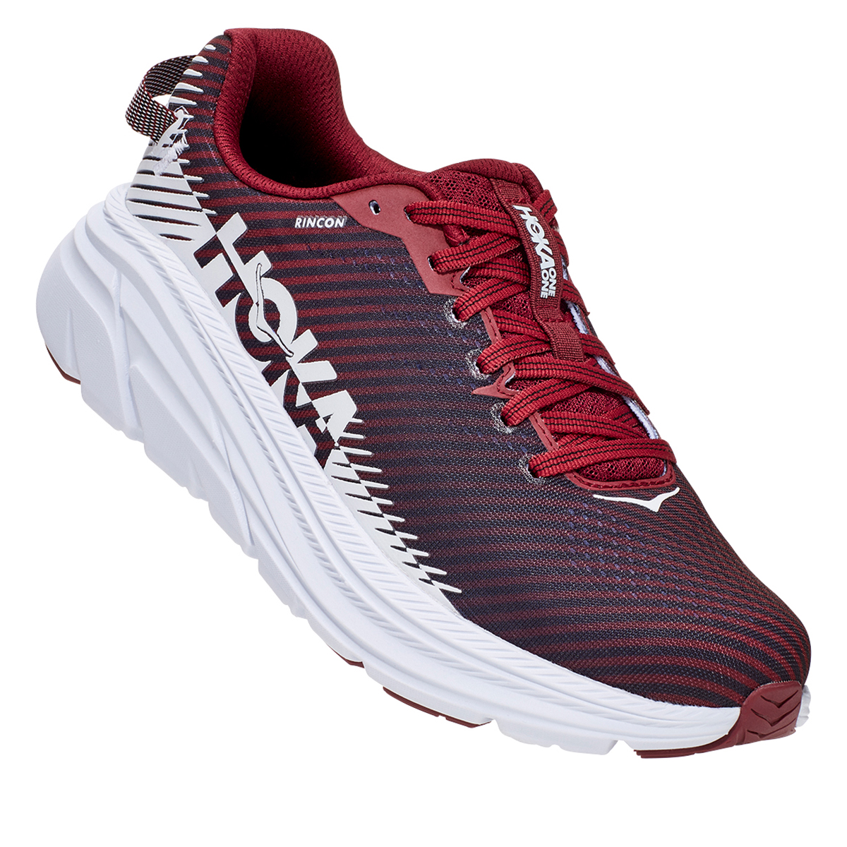 Women's Hoka One One Rincon 2 Running Shoe - Color: Cordovan/White - Size: 5 - Width: Regular, Cordovan/White, large, image 4