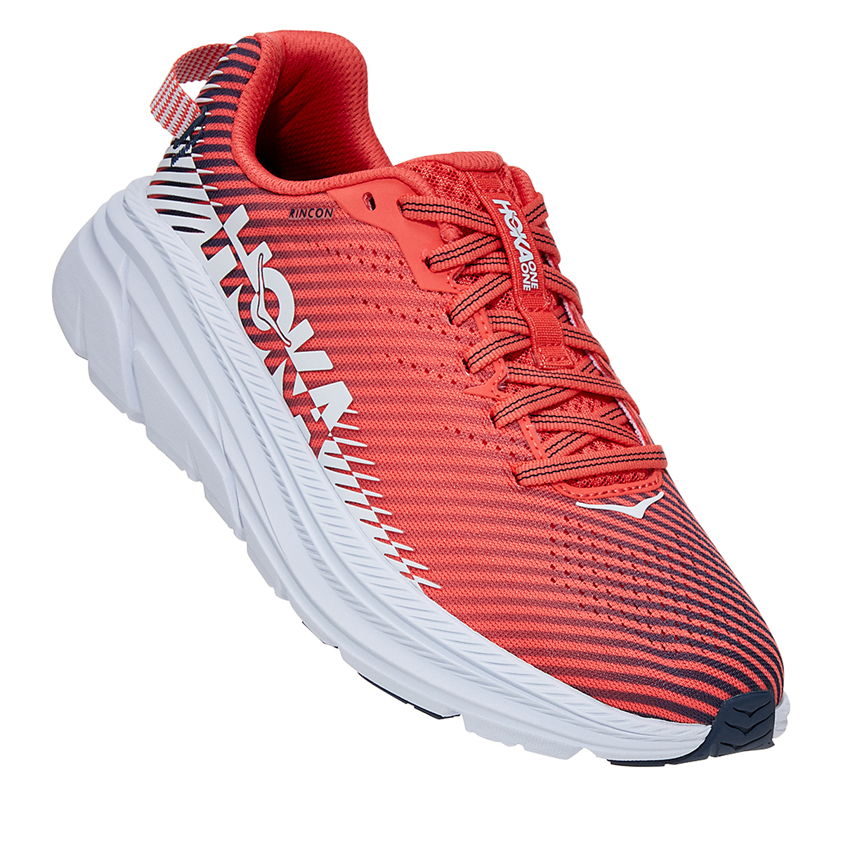 Women's Hoka One One Rincon 2 Running Shoe - Color: Hot Coral/White - Size: 5 - Width: Regular, Hot Coral/White, large, image 3