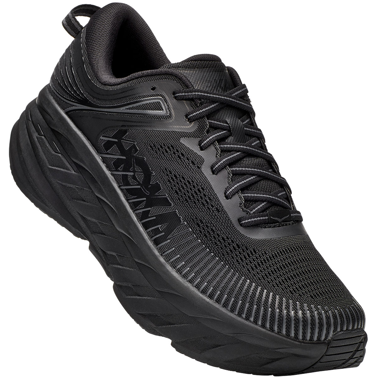 Men's Hoka One One Bondi 7 Running Shoe - Color: Black - Size: 7.5 - Width: Regular, Black, large, image 4