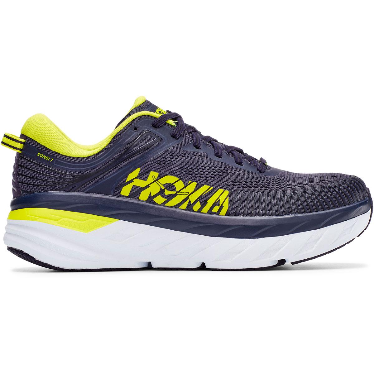 Men's Hoka One One Bondi 7 Running Shoe - Color: Odyssey Grey/Deep Well - Size: 7 - Width: Regular, Odyssey Grey/Deep Well, large, image 1