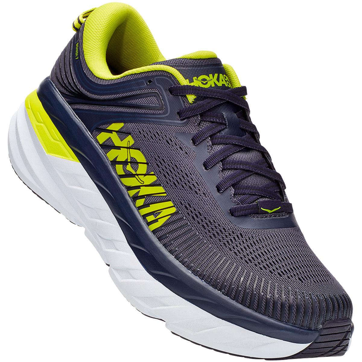 Men's Hoka One One Bondi 7 Running Shoe - Color: Odyssey Grey/Deep Well - Size: 7 - Width: Regular, Odyssey Grey/Deep Well, large, image 4
