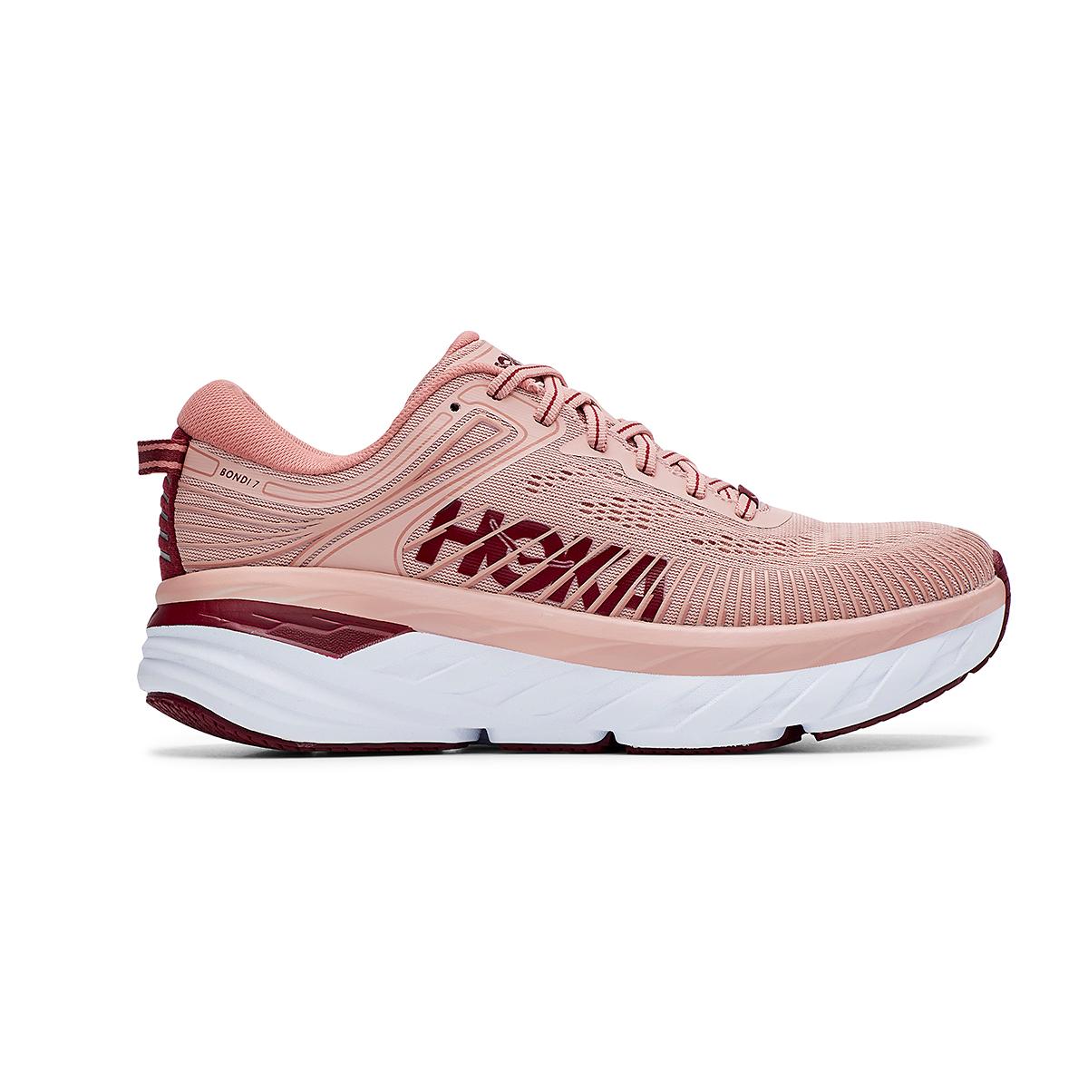 Women's Hoka One One Bondi 7 Running Shoe - Color: Misty Rose/Cordovan - Size: 5 - Width: Regular, Misty Rose/Cordovan, large, image 1