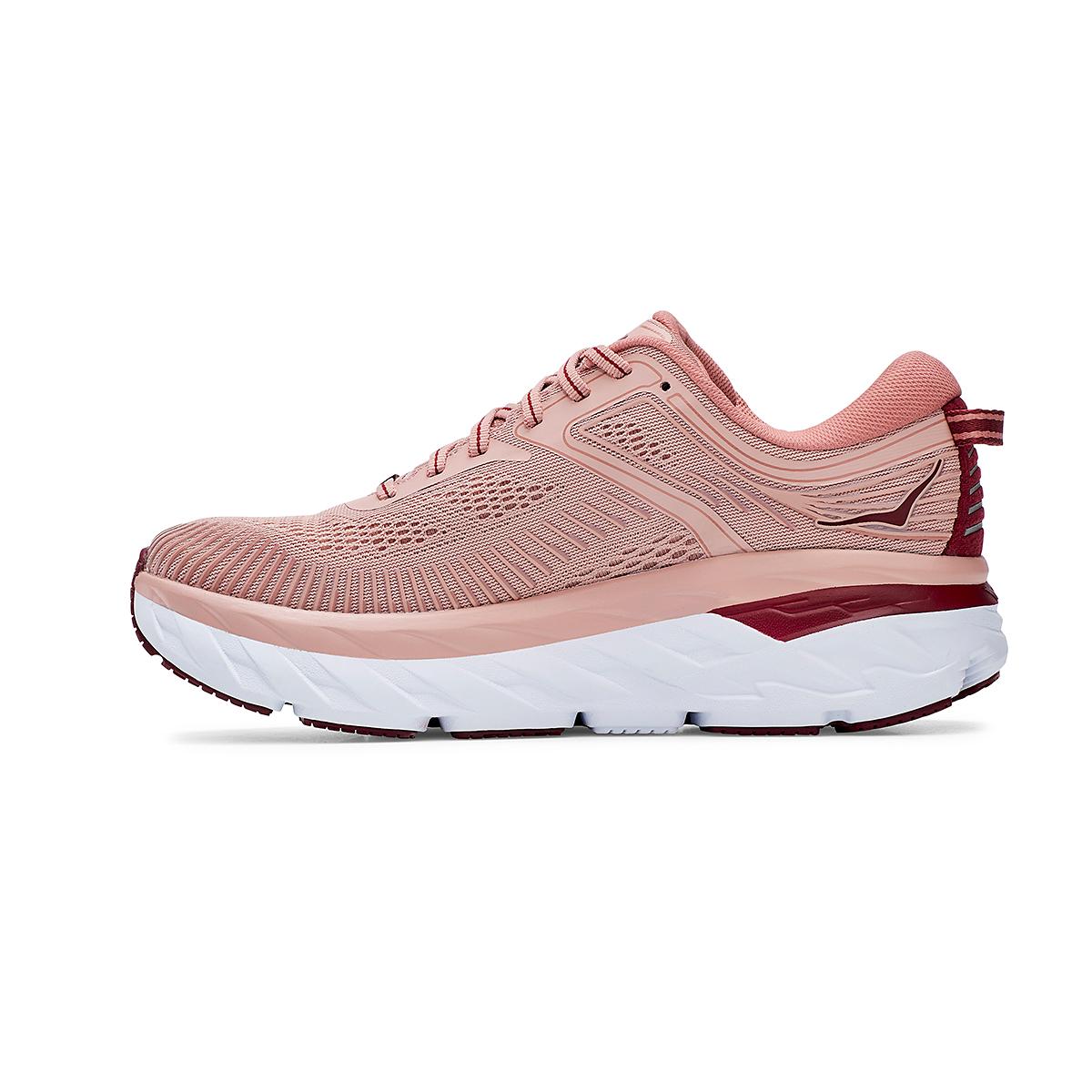 Women's Hoka One One Bondi 7 Running Shoe - Color: Misty Rose/Cordovan - Size: 5 - Width: Regular, Misty Rose/Cordovan, large, image 2