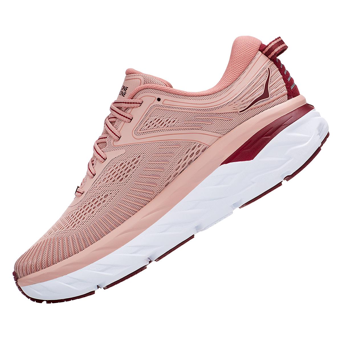 Women's Hoka One One Bondi 7 Running Shoe - Color: Misty Rose/Cordovan - Size: 5 - Width: Regular, Misty Rose/Cordovan, large, image 6