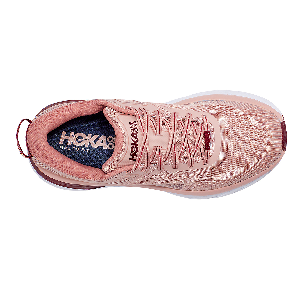 Women's Hoka One One Bondi 7 Running Shoe - Color: Misty Rose/Cordovan - Size: 5 - Width: Regular, Misty Rose/Cordovan, large, image 7